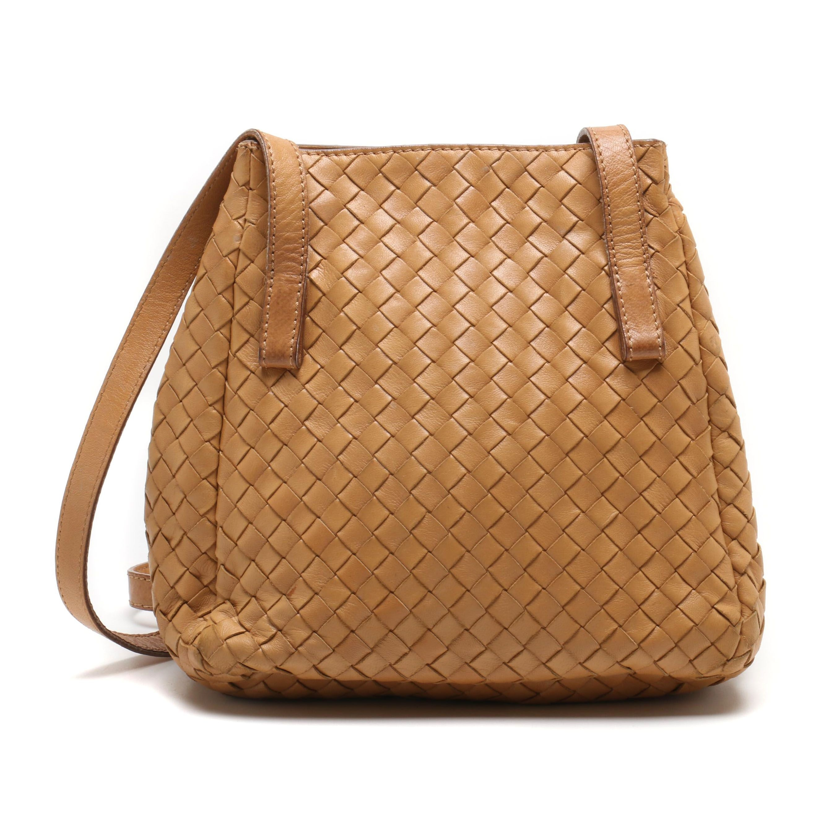 Bottega Veneta Tan Intrecciato Napa Leather Shoulder Bag
