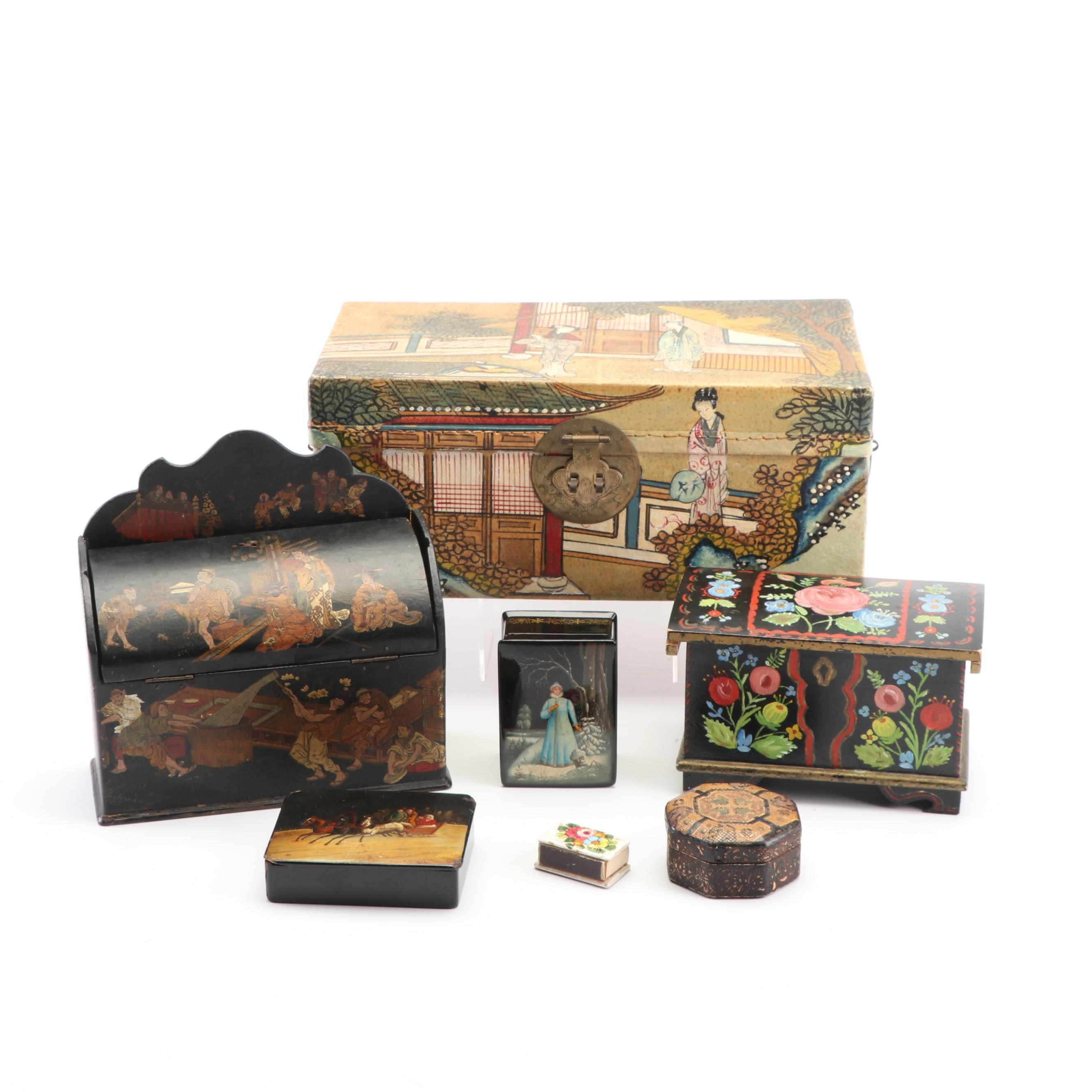 Collection of Painted Decorative Boxes