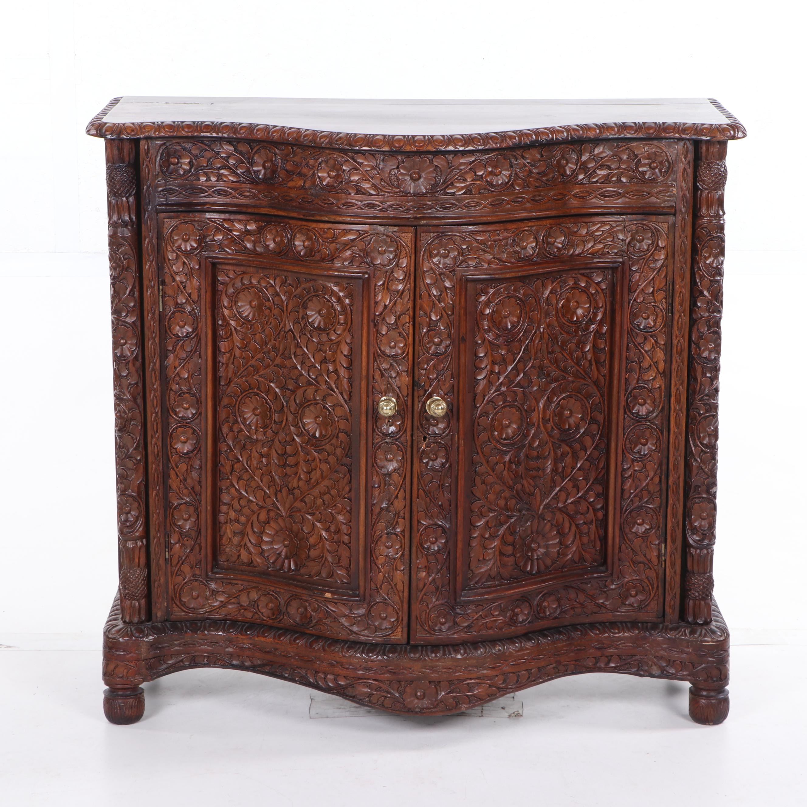 Renaissance Style Ornately Carved Cabinet, Late 19th Century