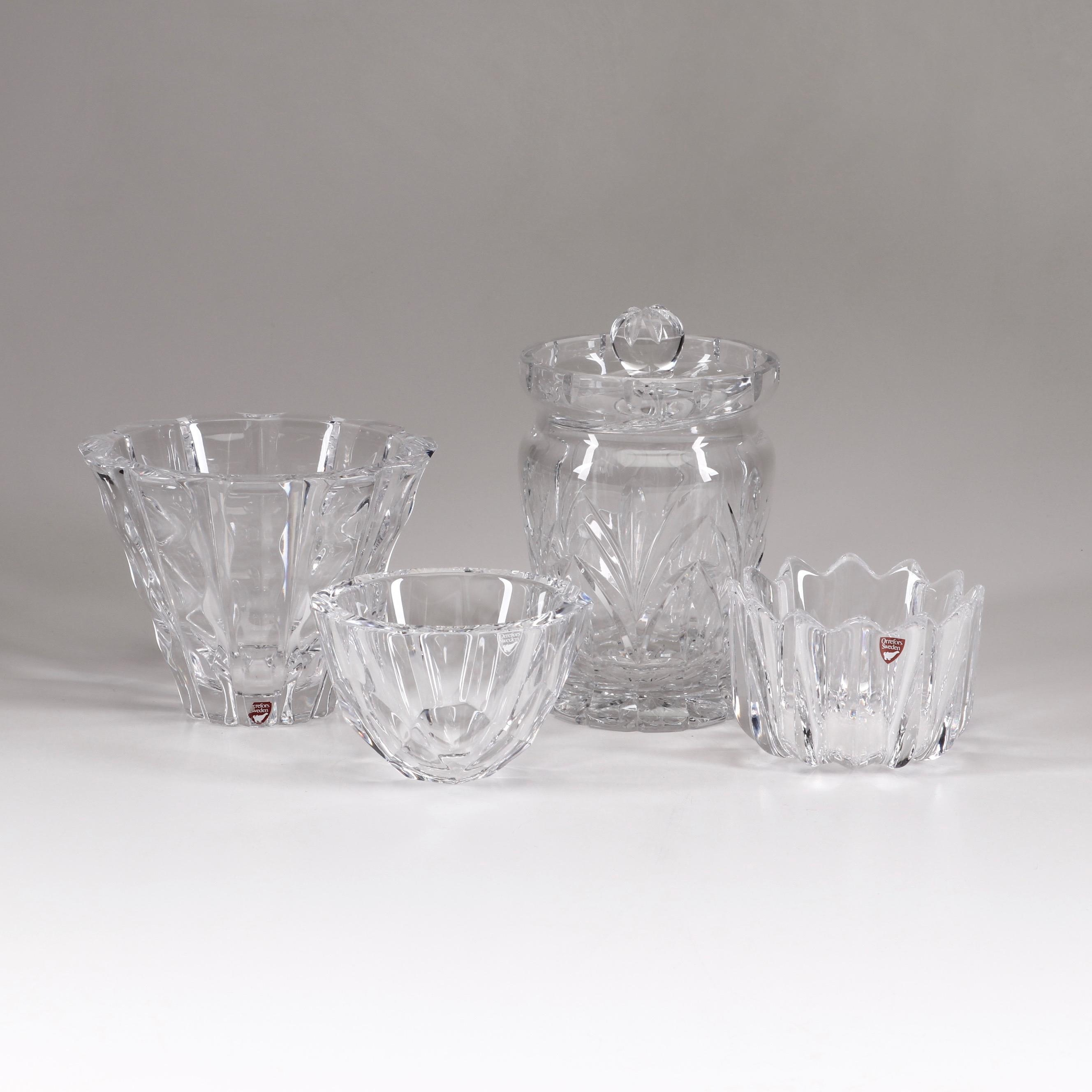 Orrefors and Marquis by Waterford Crystal Glass Bowls and Lidded Jar