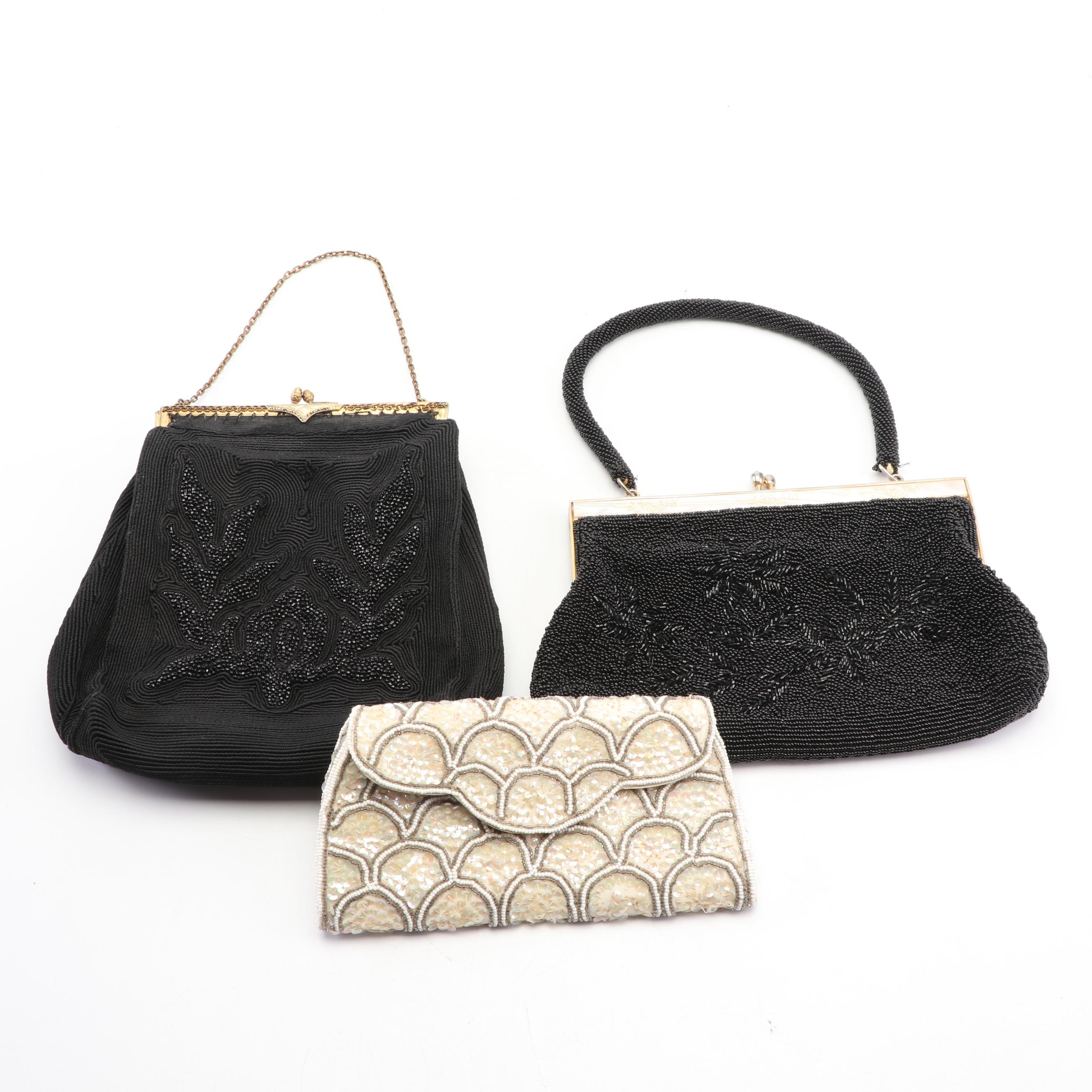 Beaded and Sequined Evening Bags and Clutch Including Cordé, Mid-20th Century