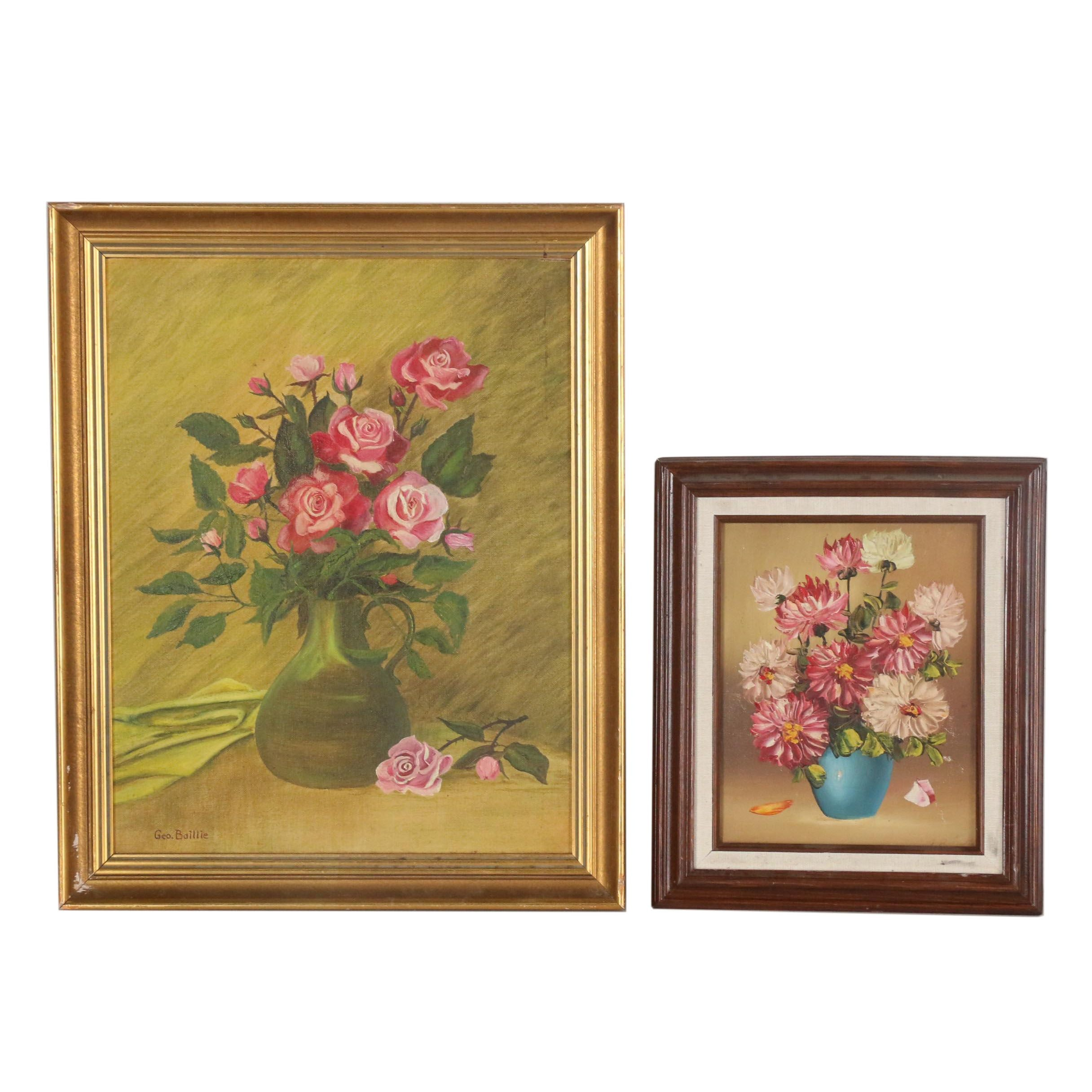 20th Century Floral Still Life Oil Paintings
