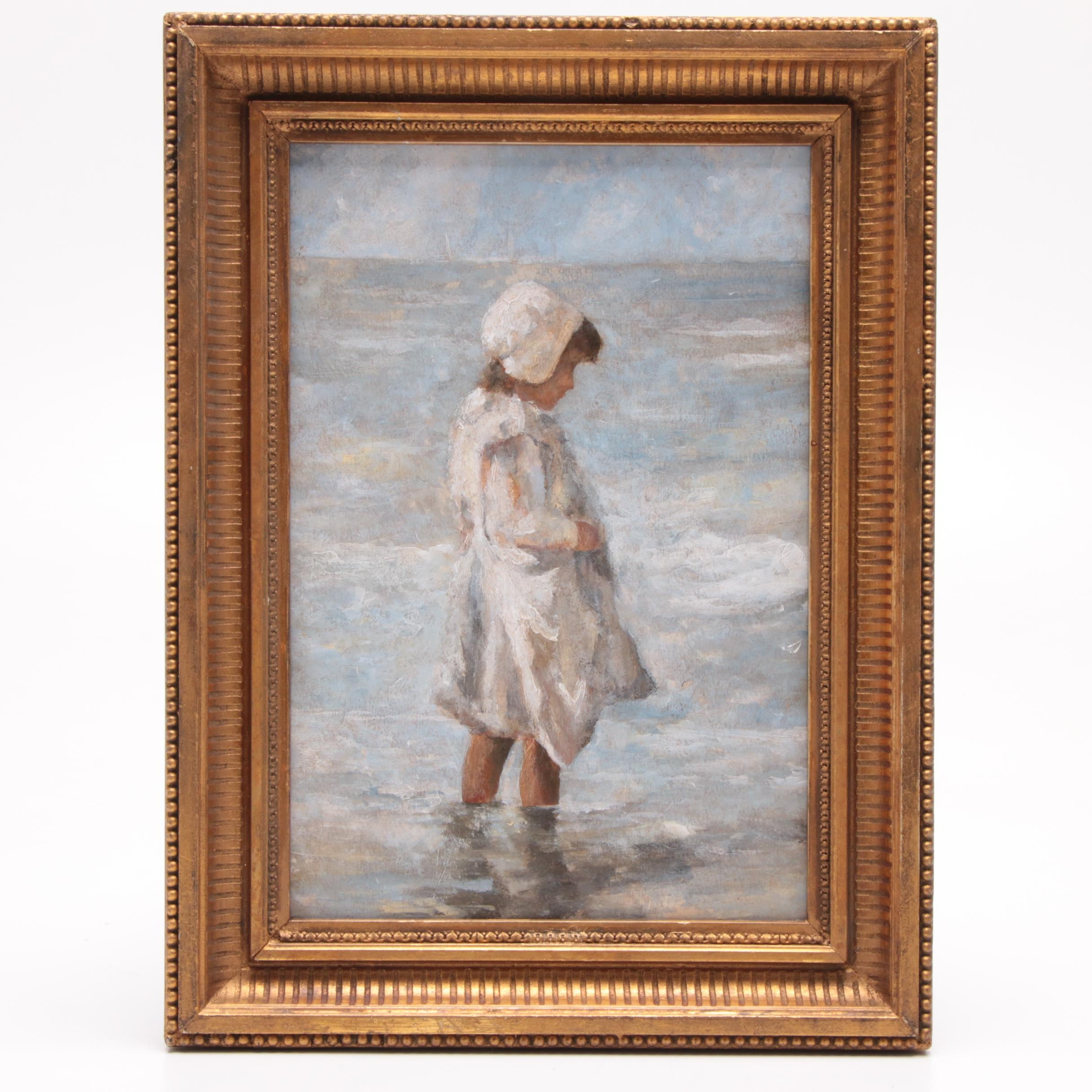 Mabel A Levy Oil Painting of Girl at the Shore