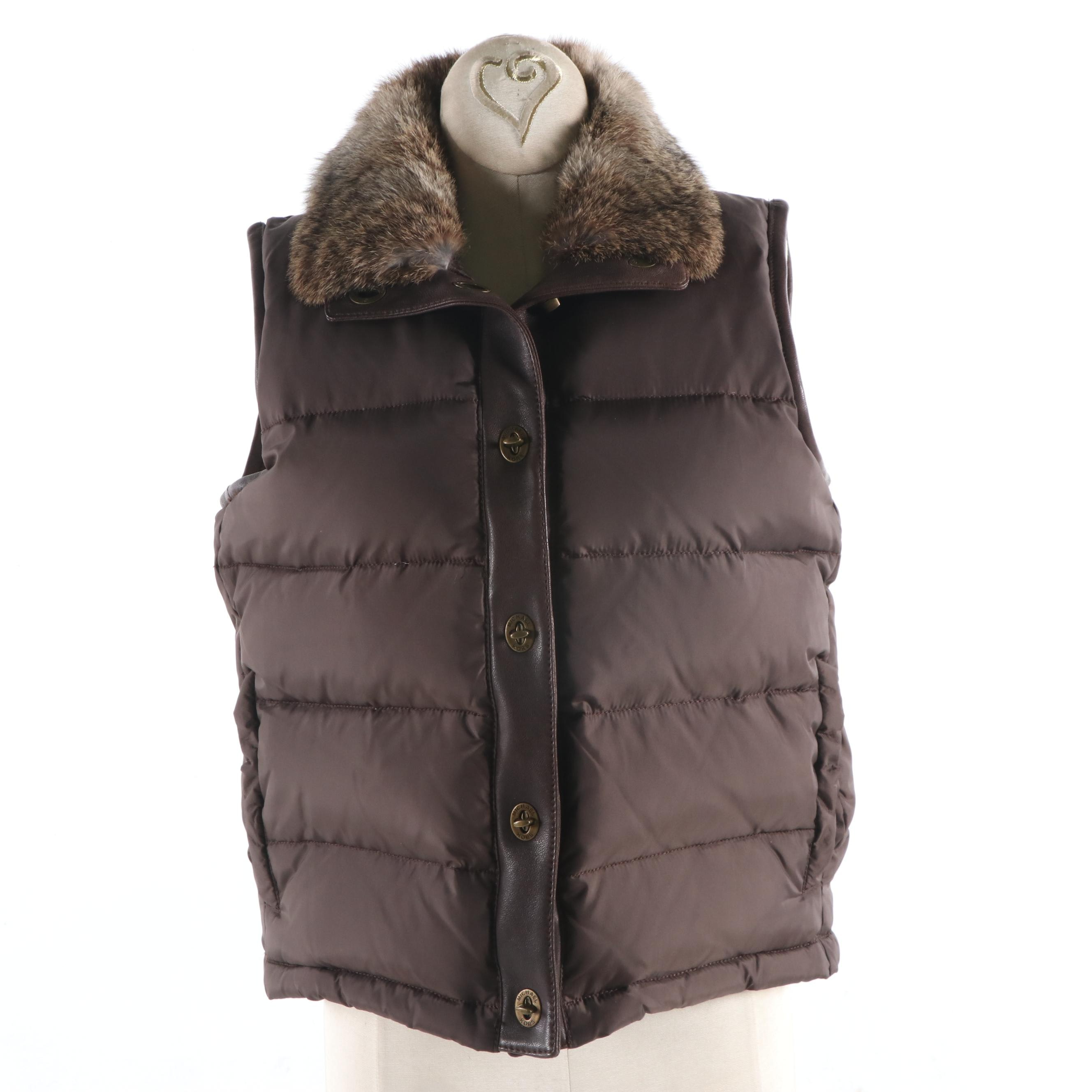 MK Michael Kors Brown Puffer Vest with Rabbit Fur and Leather Trim