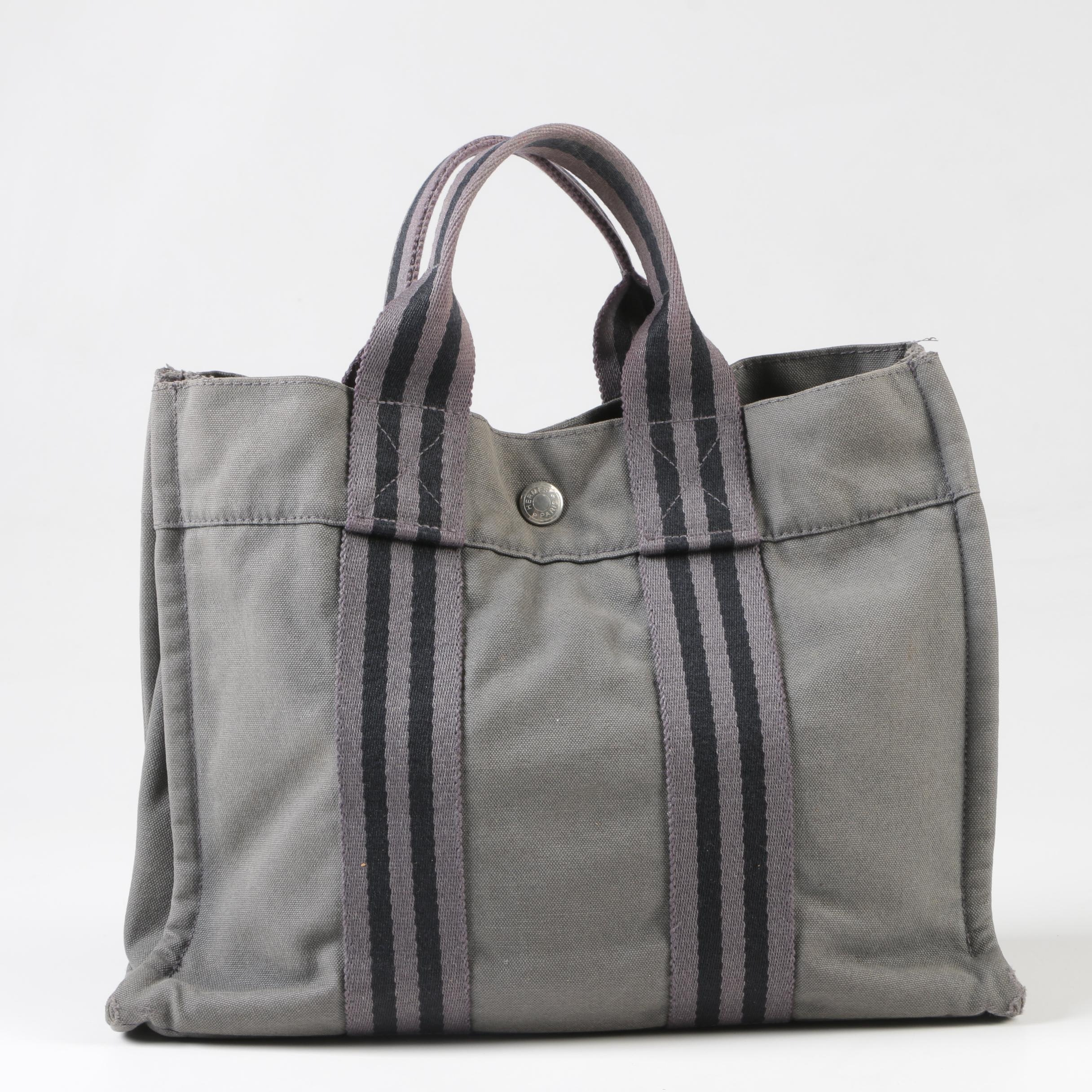 Hermès of Paris Grey and Black Canvas PM Tote