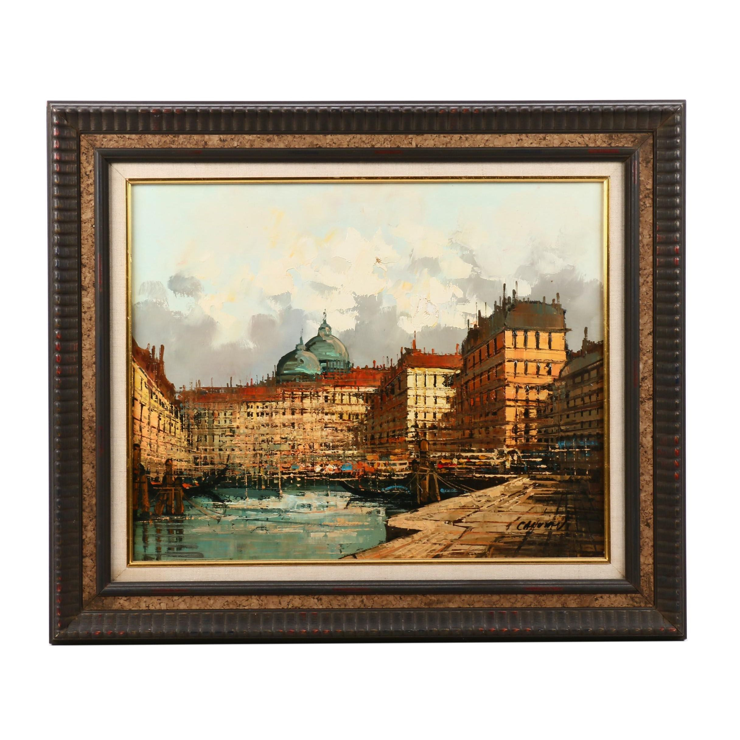 Oil Painting of Continental Cityscape