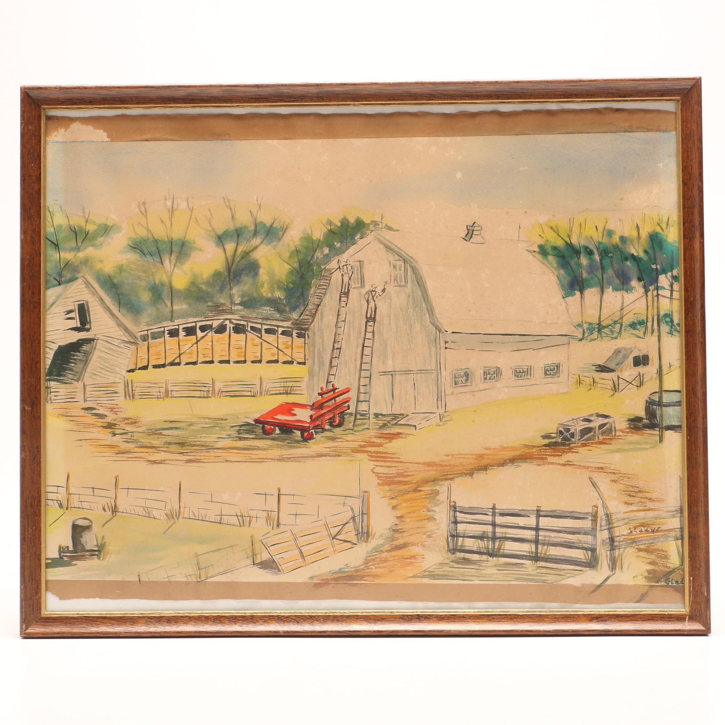 Gladdys Watercolor Painting of Farm Scene