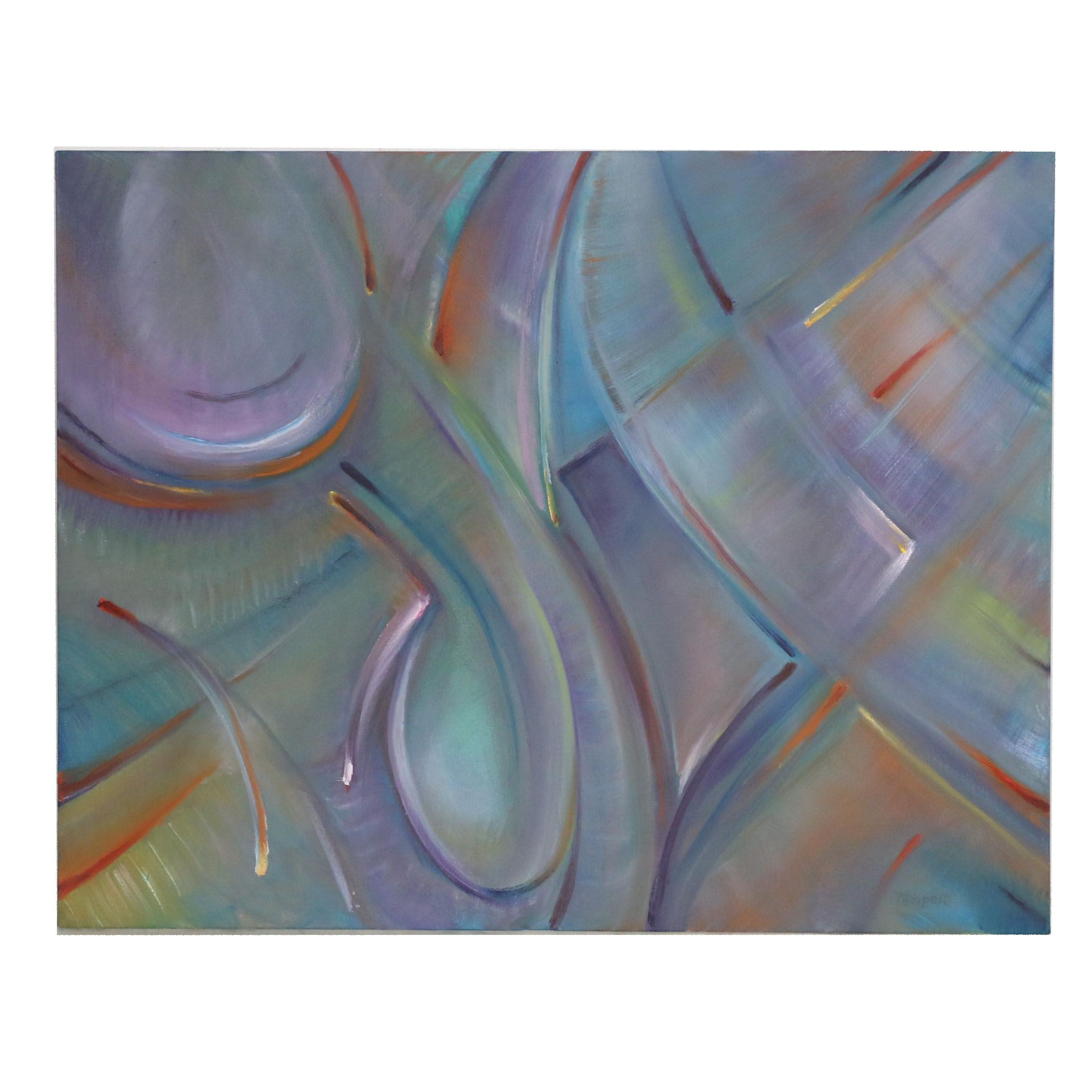 "Husidio John Tempest Abstract Oil Painting ""Violet Consortium"""