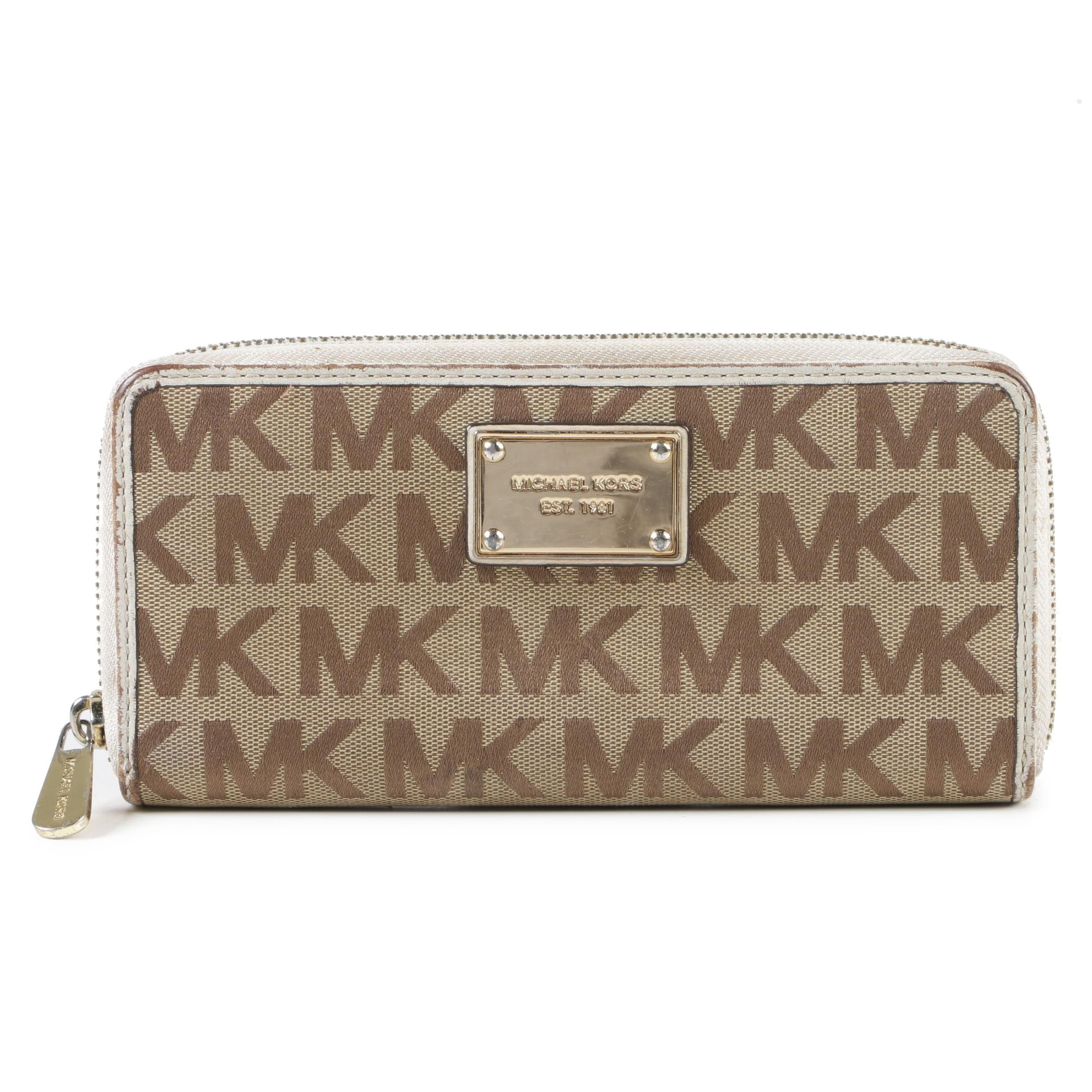 Michael Kors Tan and Brown Signature Canvas Zip Wallet