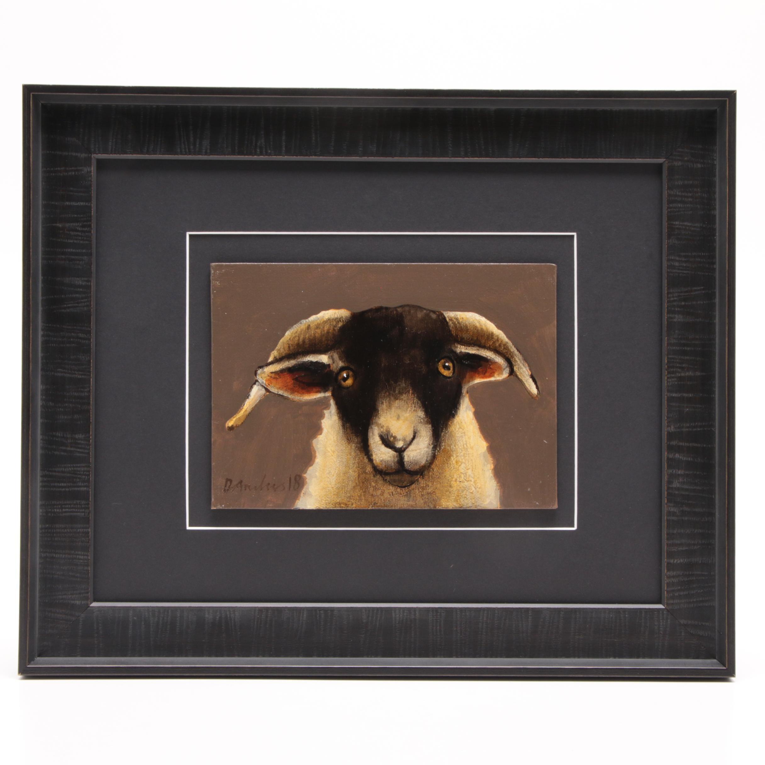 David Andrews Oil Painting of Scottish Blackface Sheep