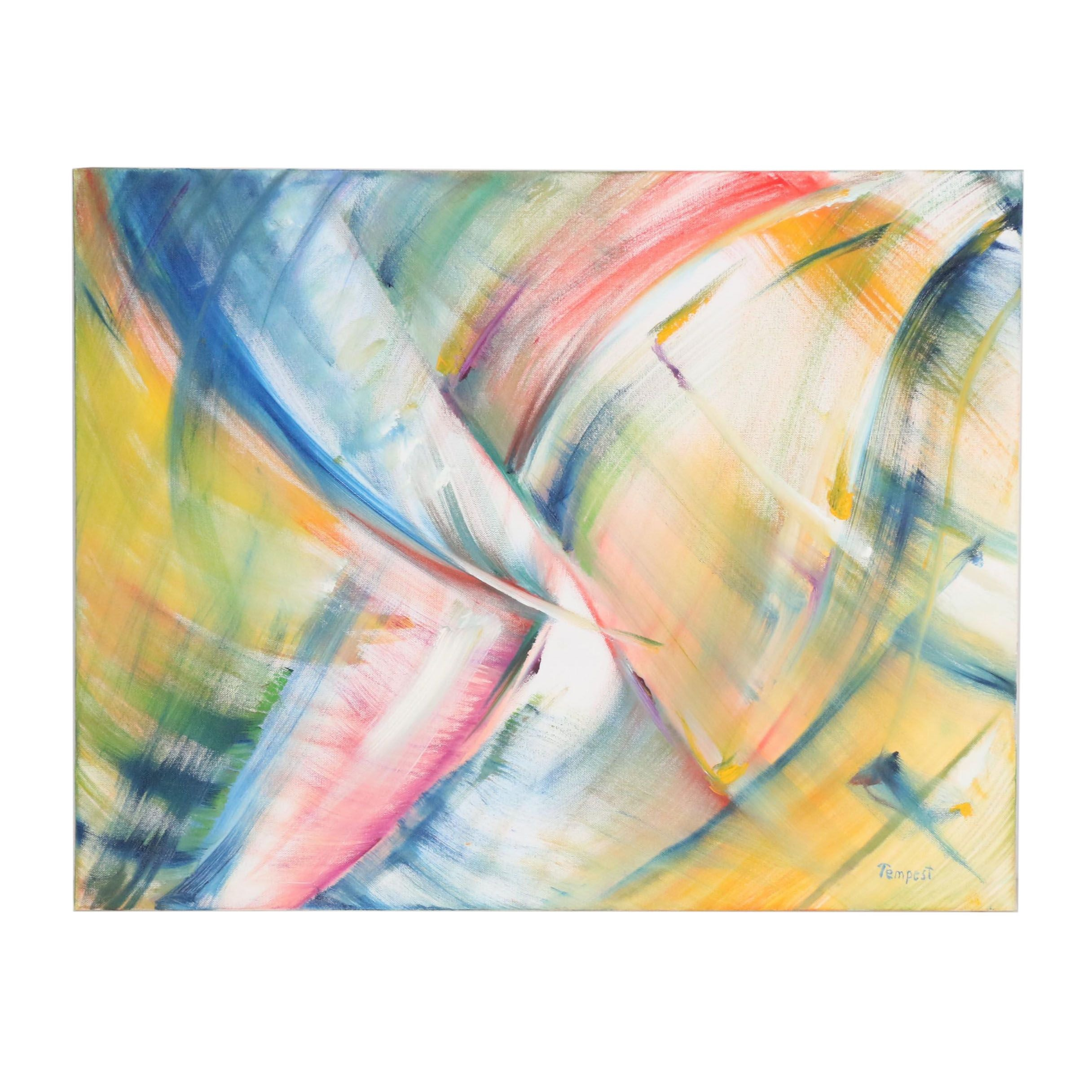 "Husidio John Tempest Abstract Oil Painting ""In Light Of"""