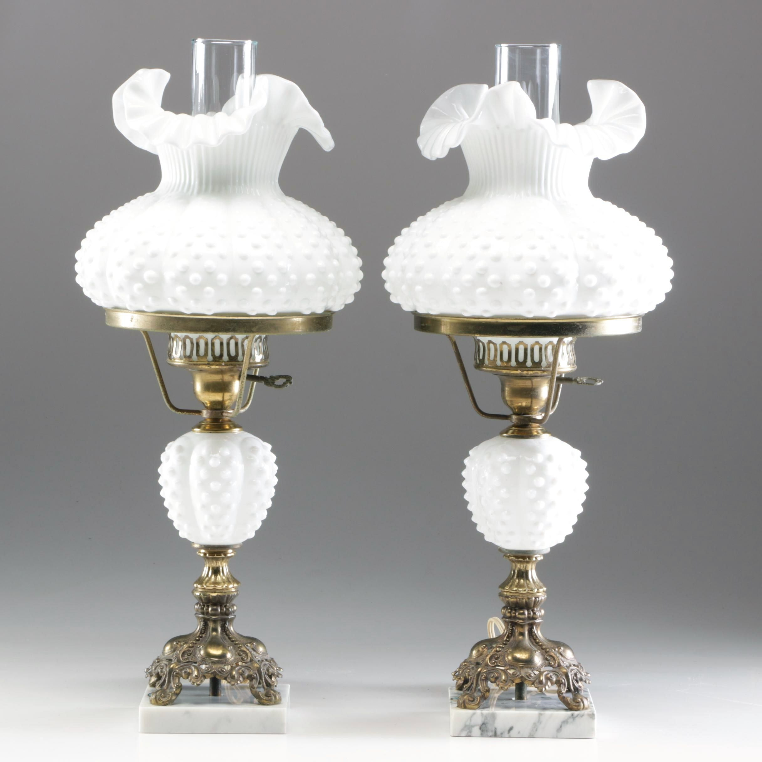 Hobnail Milk Glass Parlor Lamps Attributed to Fenton