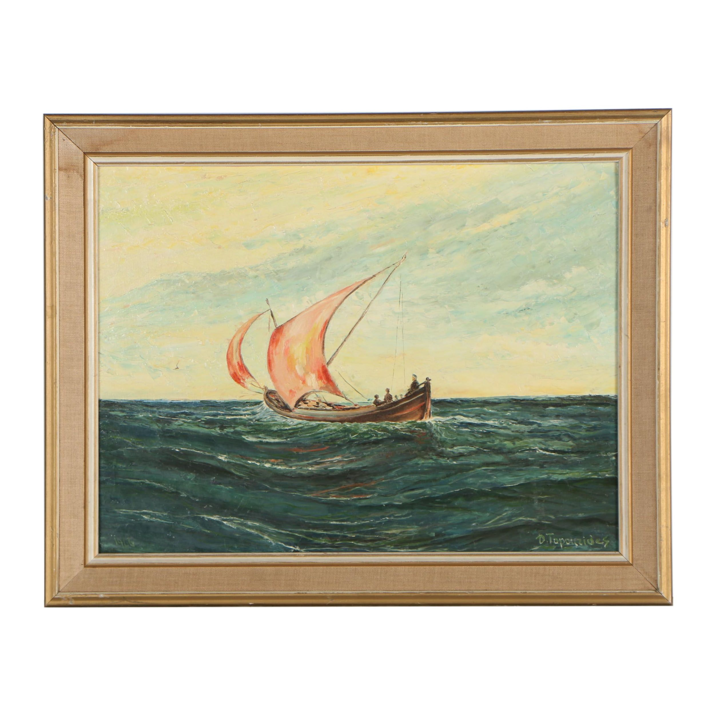 Late 20th Century Nautical Oil Painting