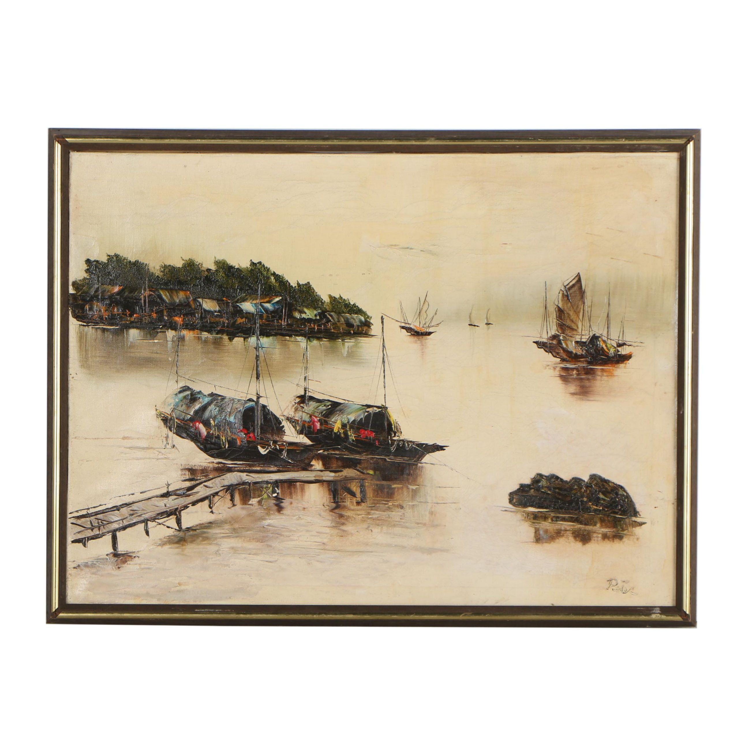 Oil Painting of a Nautical Scene, Signed Peter