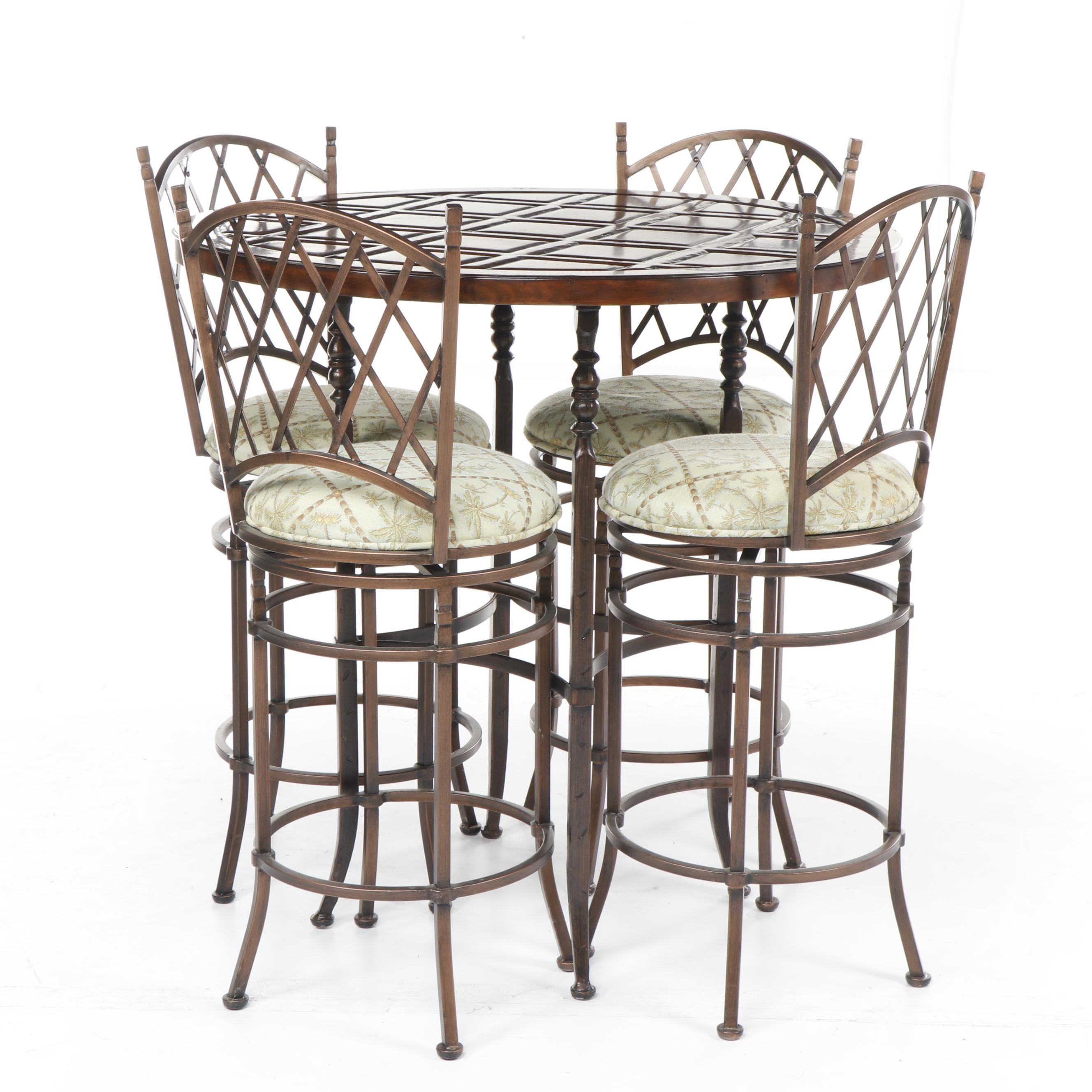 Contemporary Artistica Table and Walter E. Smithe Copper Tone Metal Stools