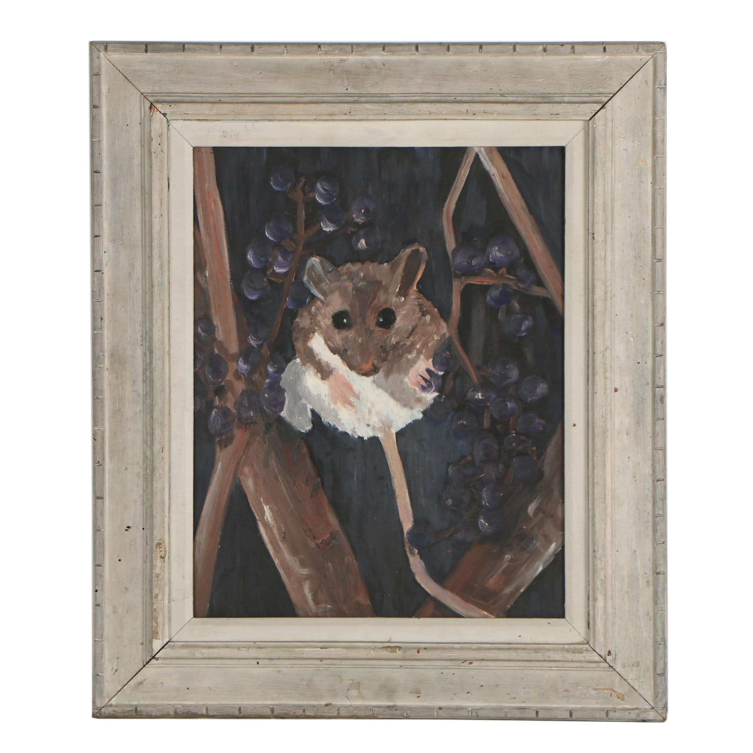 "Late 20th Century Oil Painting ""Mouse"""