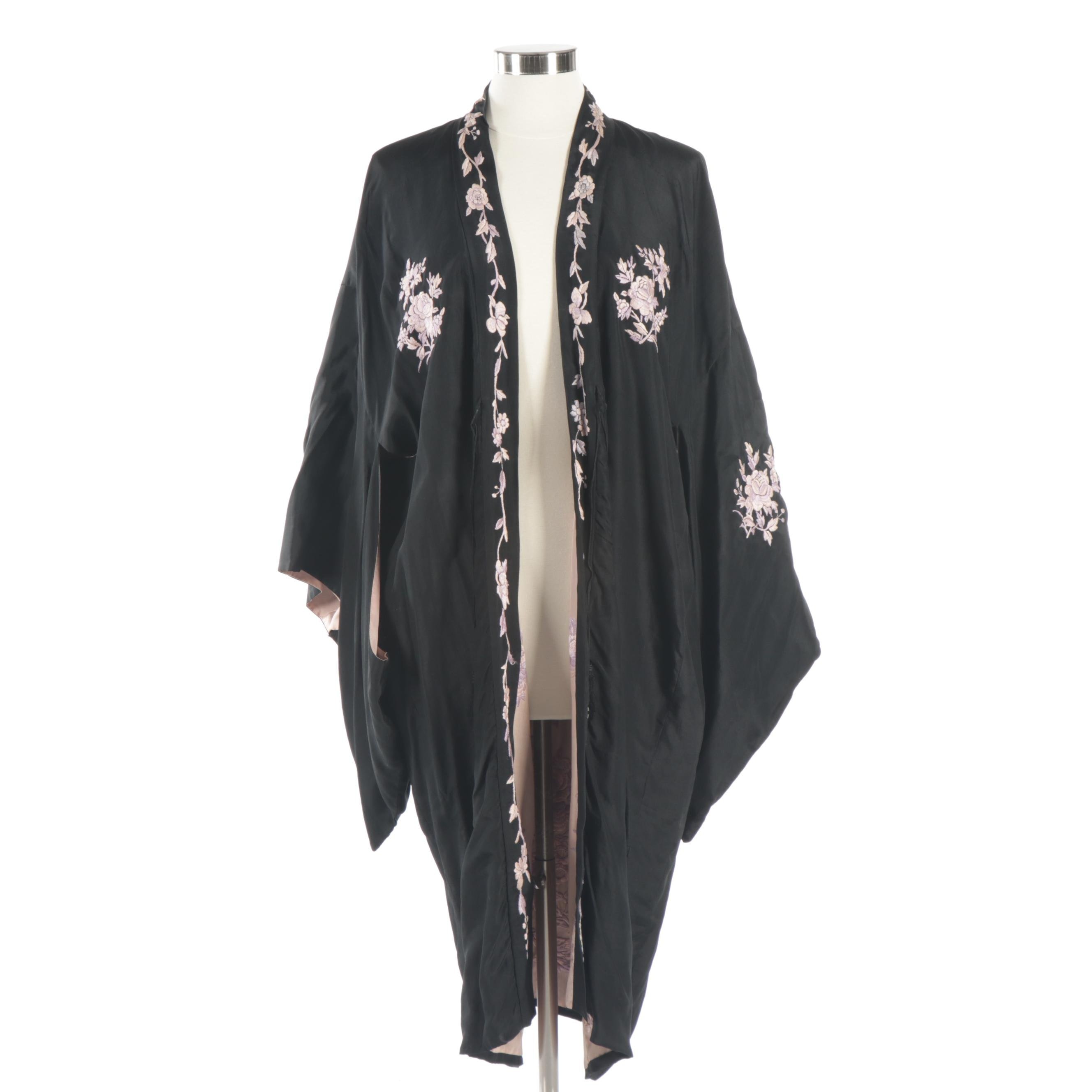 Black and Pink Embroidered Robe in Florals with Kimono Sleeves and Tassels