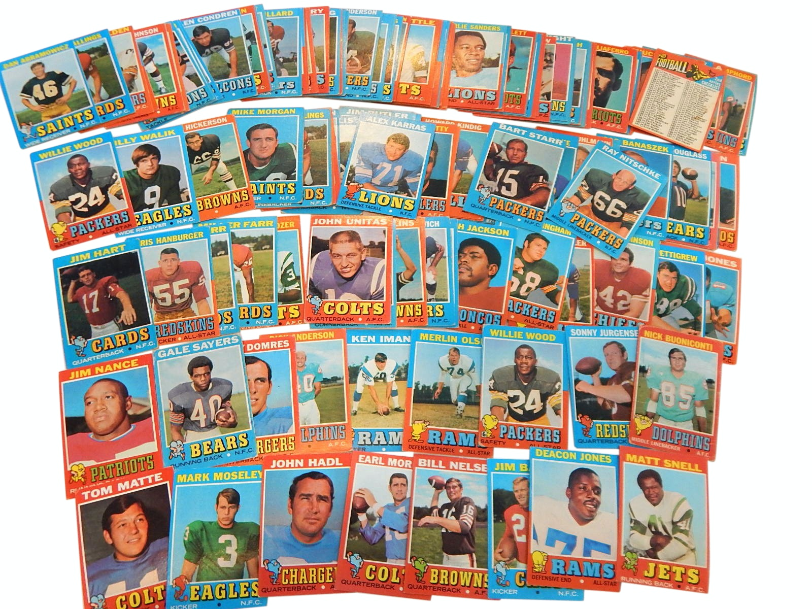 1971 Topps Football Card Collection with Starr, Unitas, Sayers and More