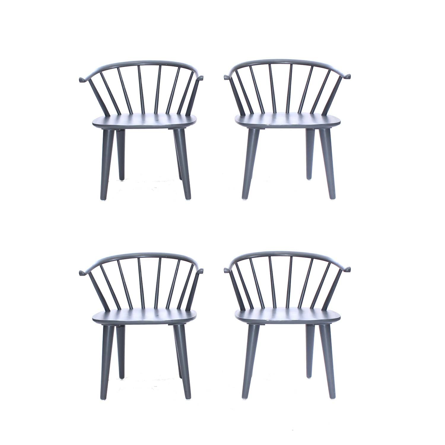 Four Windsor Style Gray Wooden Dining Chairs, Contemporary