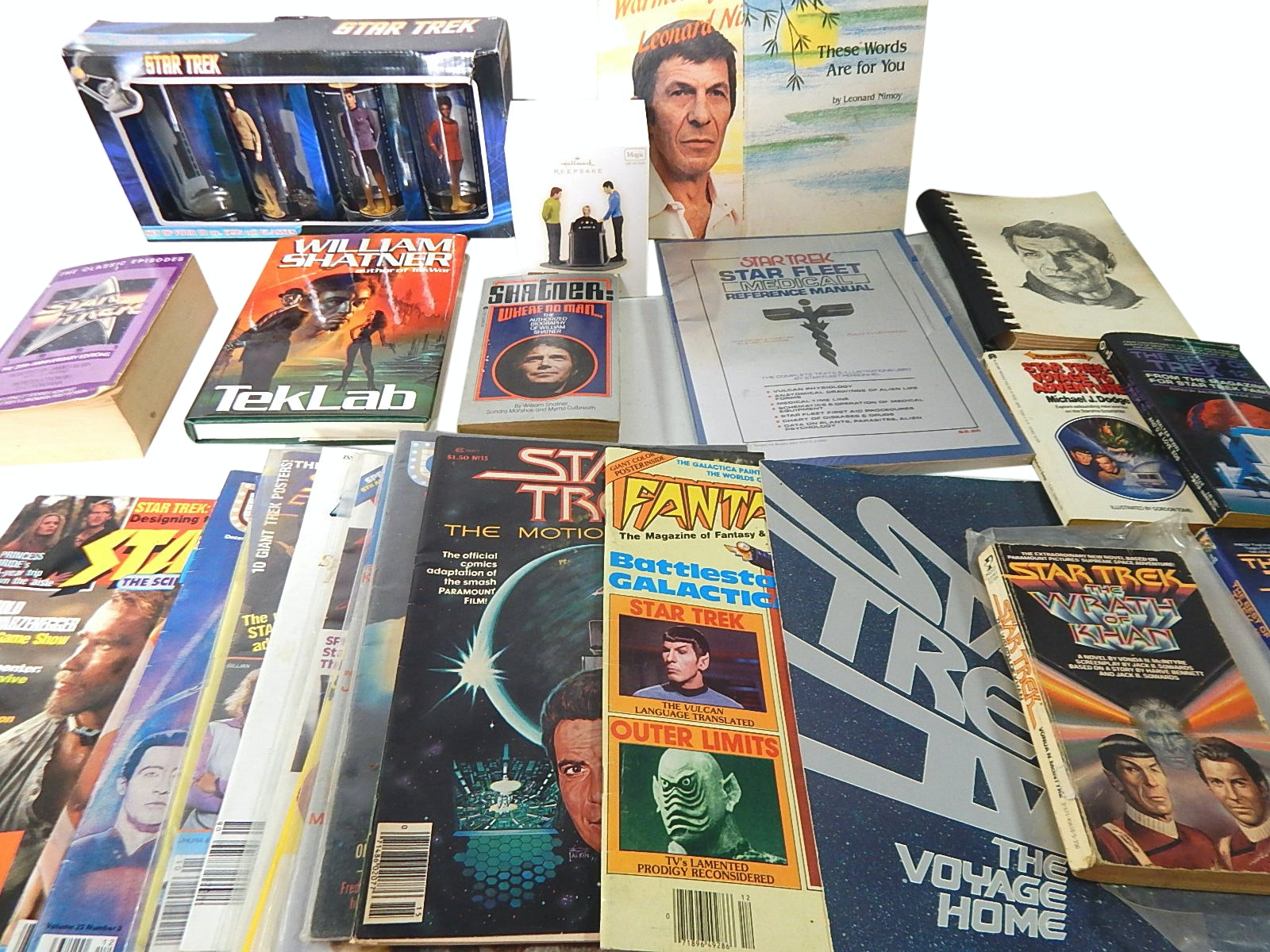 "Large ""Star Trek"" Collection with Magazines, Ornament, Books, Glasses"