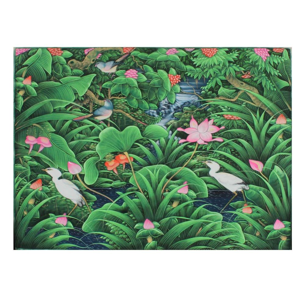 Balinese Acrylic Landscape Painting