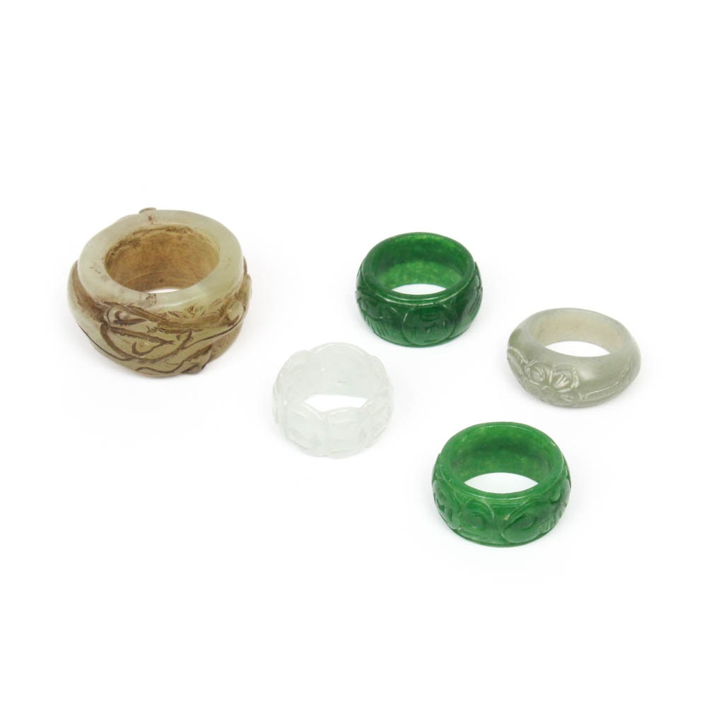 Chinese Carved Jadeite and Nephrite Rings