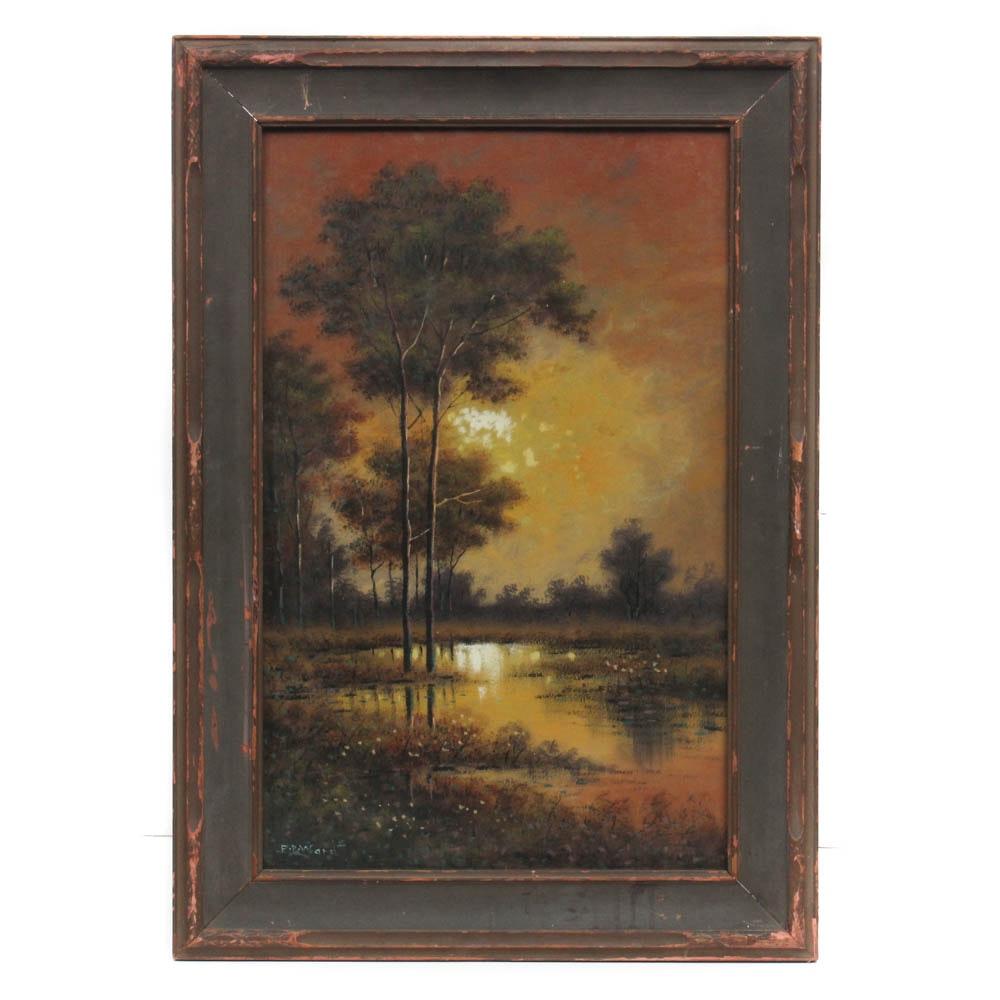 J.W. Waret Landscape Oil Painting