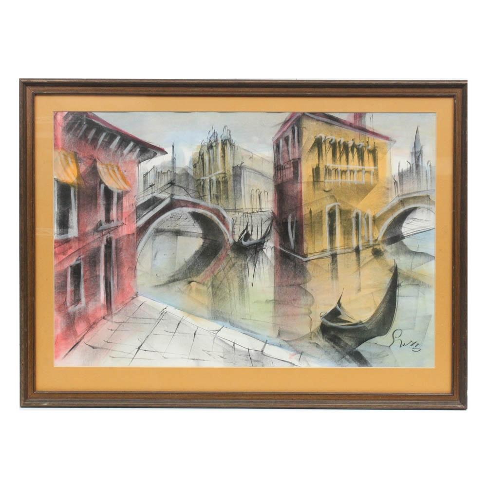 Mid Century Venetian Canal Mixed Media Drawing
