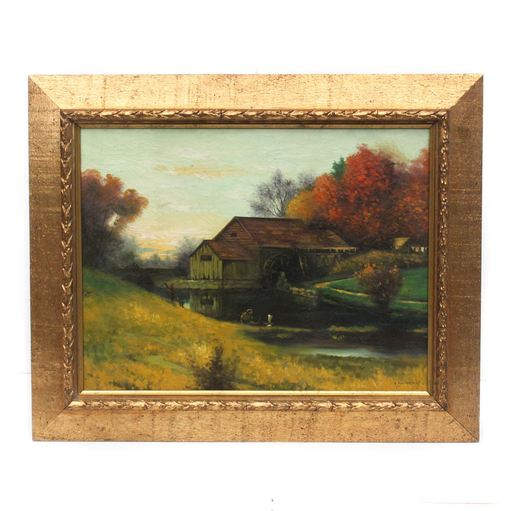 Young Landscape Oil Painting in Carved Gilt Wood Frame