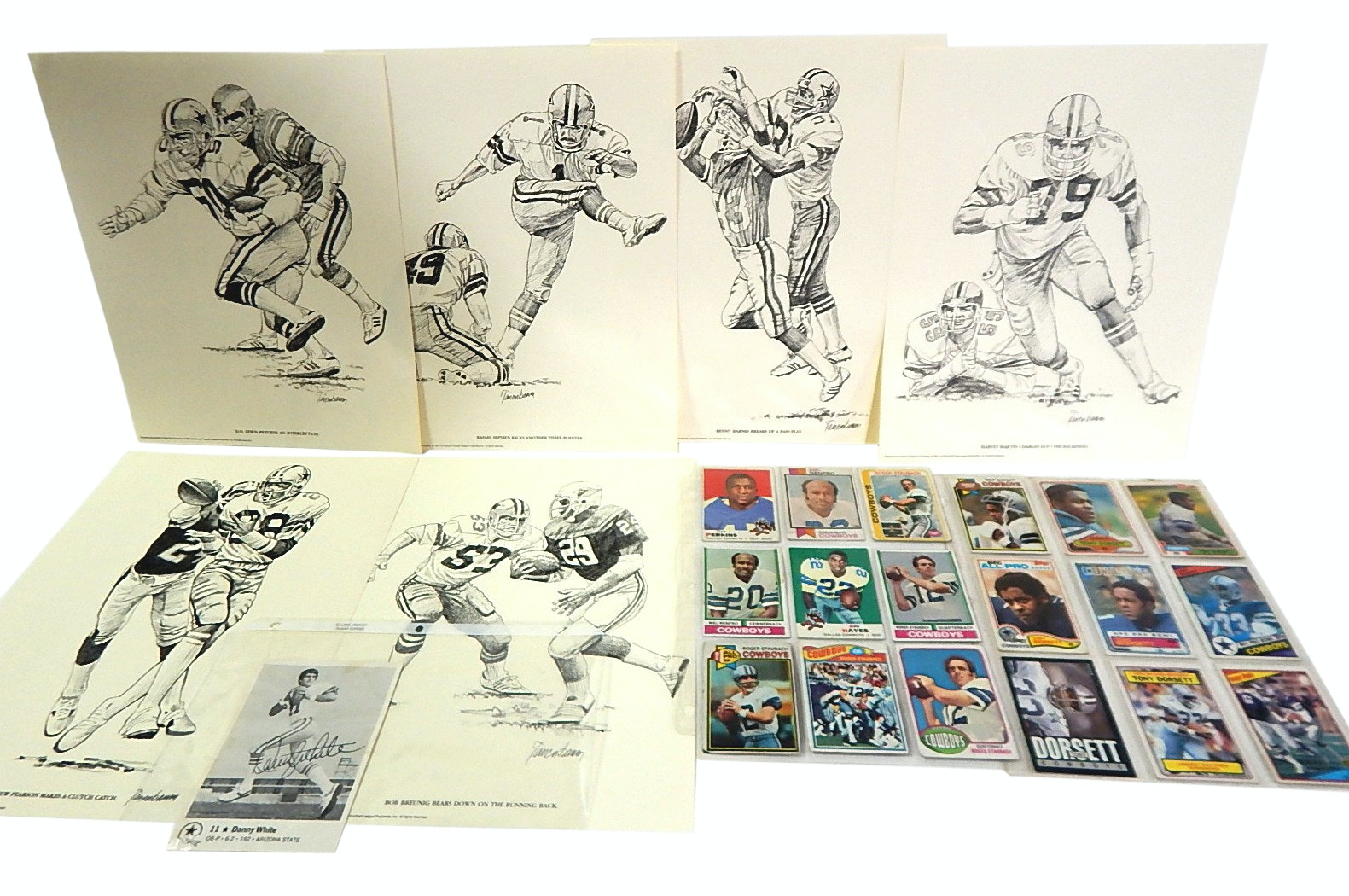 NFL Dallas Cowboy Prints and Football Cards and Danny White Signed Card