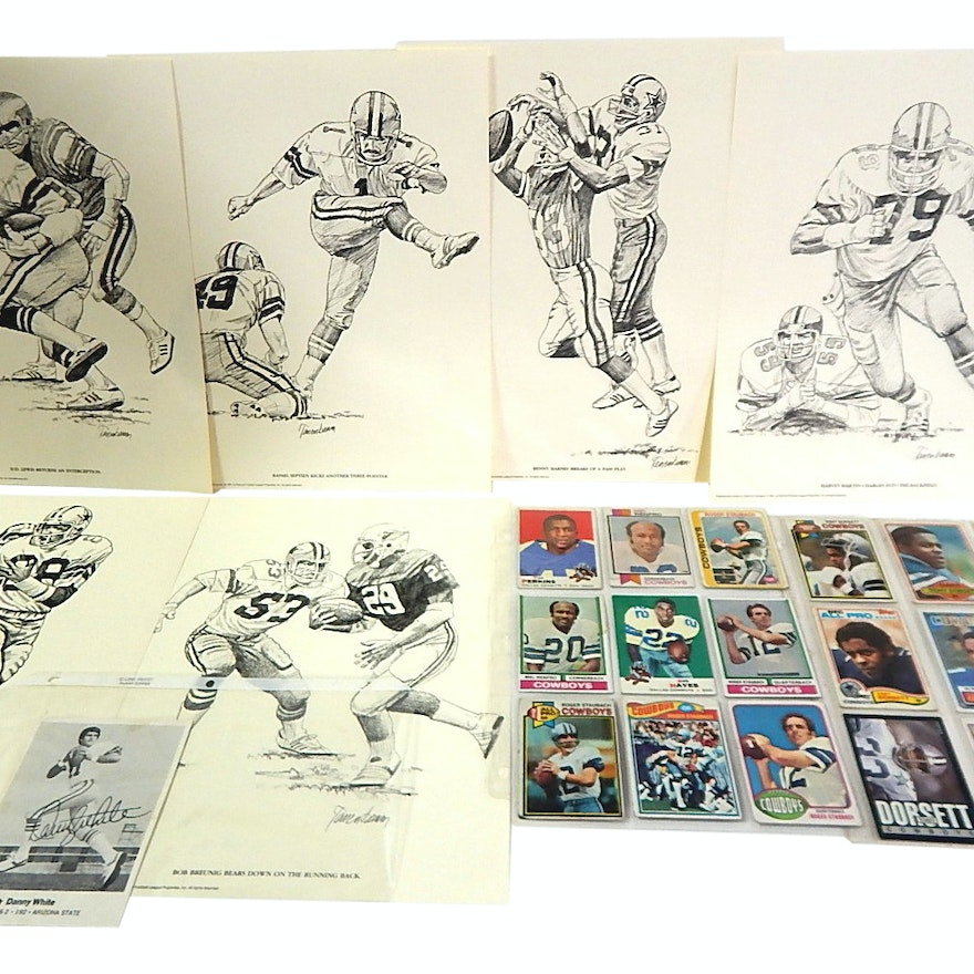 68925970bdd NFL Dallas Cowboy Prints and Football Cards and Danny White Signed Card    EBTH