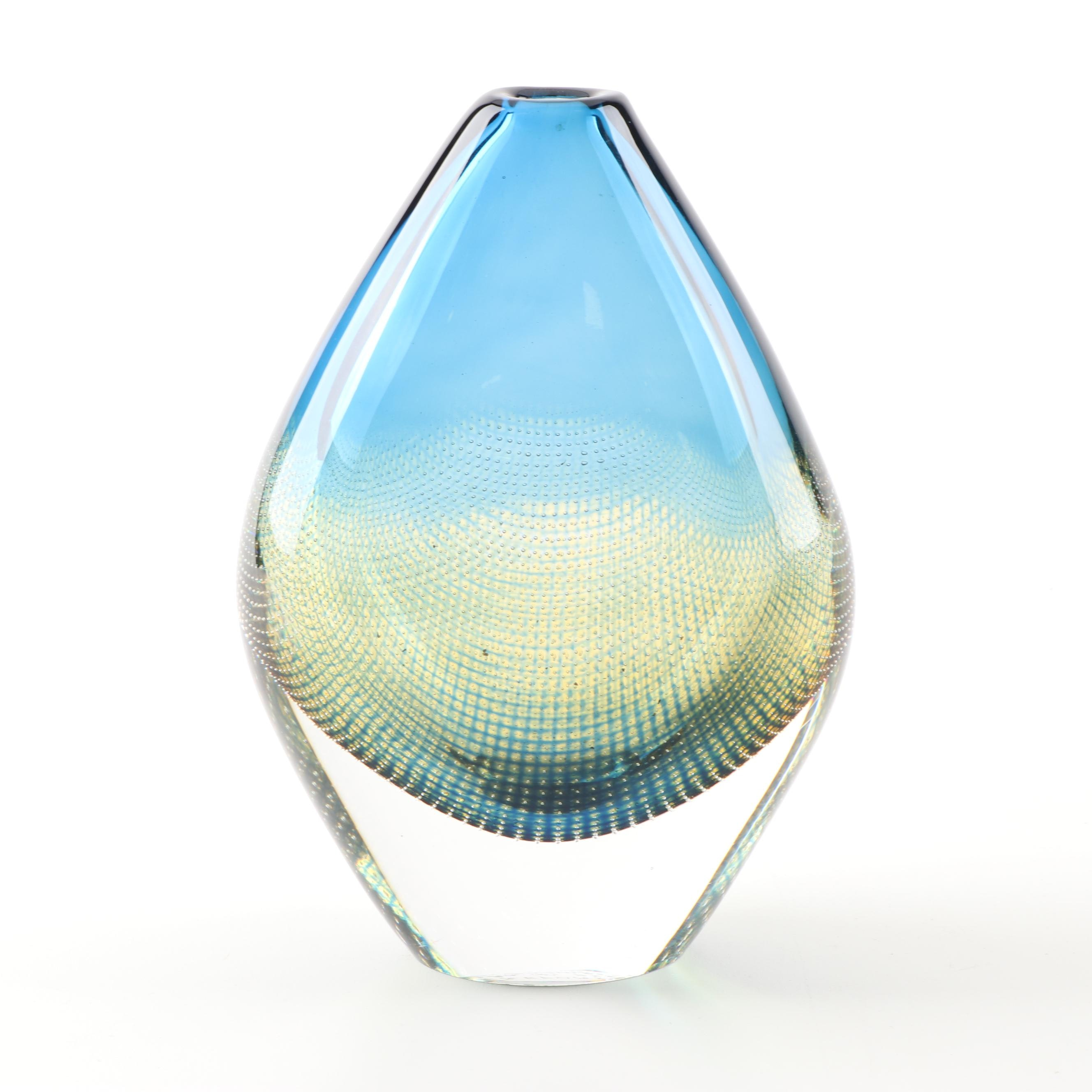 """Orrefors """"Kraka"""" Art Glass Vase Designed by Sven Palmquist"""