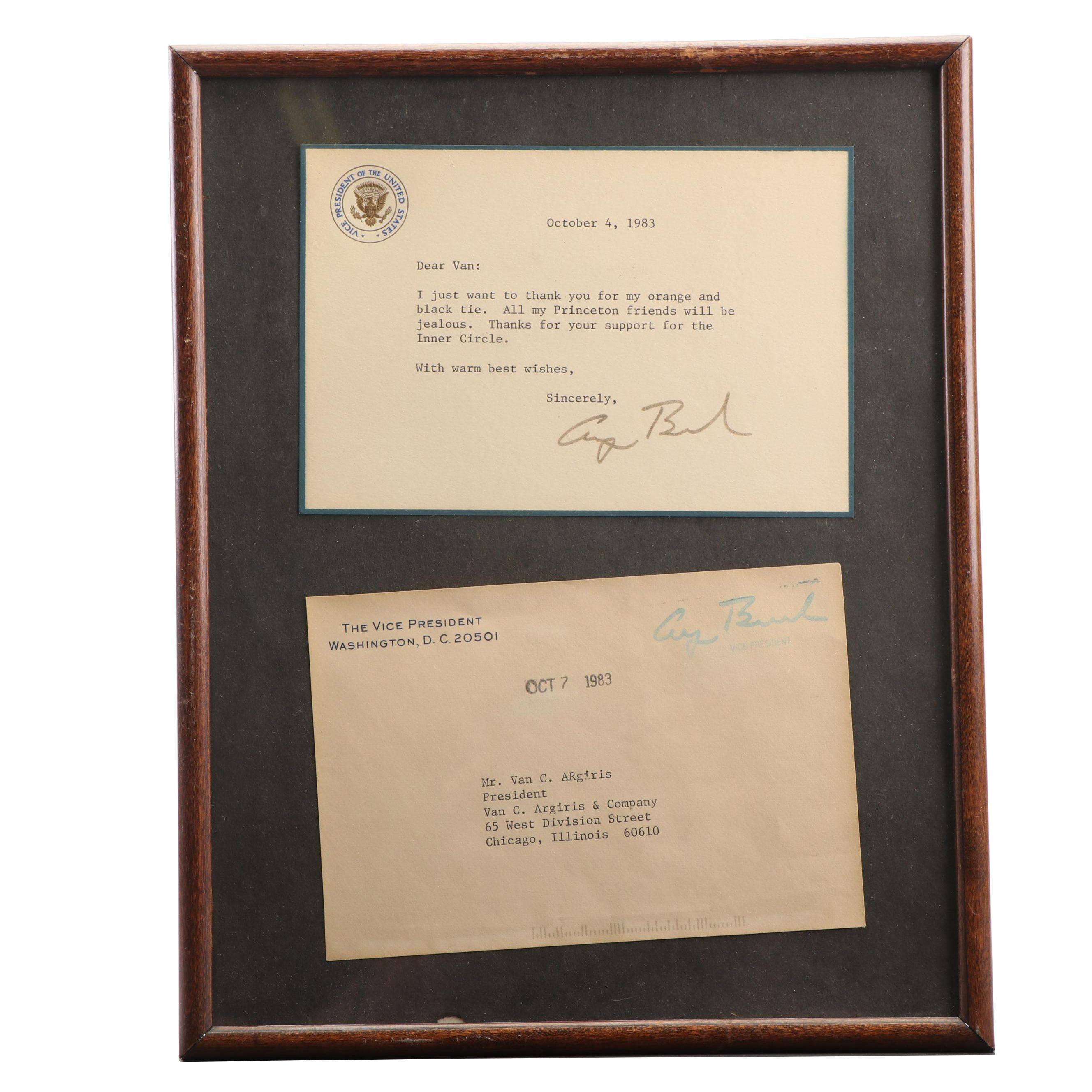 Signed and Stamped Letter by George H. W. Bush, 1983