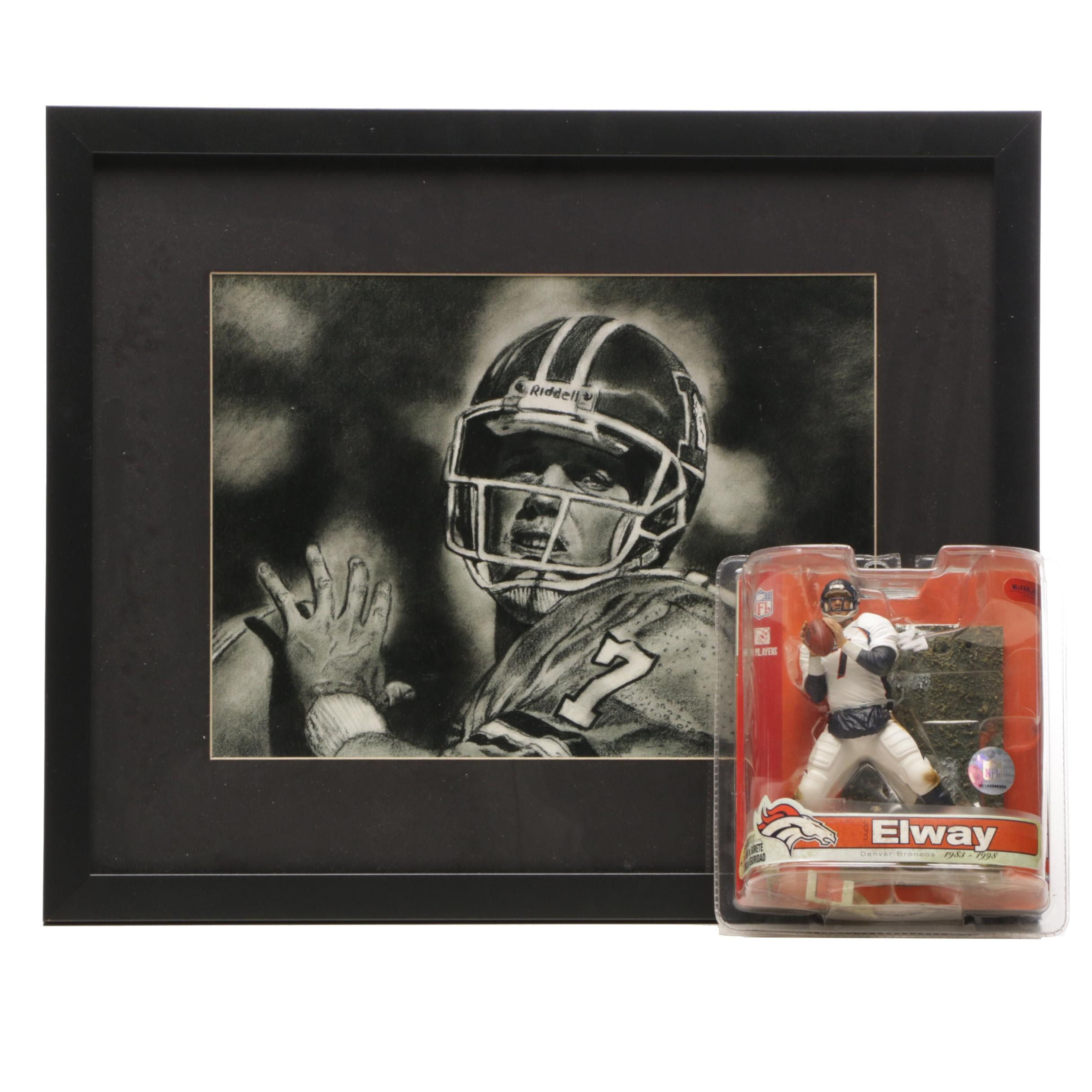 John Elway Denver Broncos Framed Lithograph and 2007 McFarland Figure in Pack