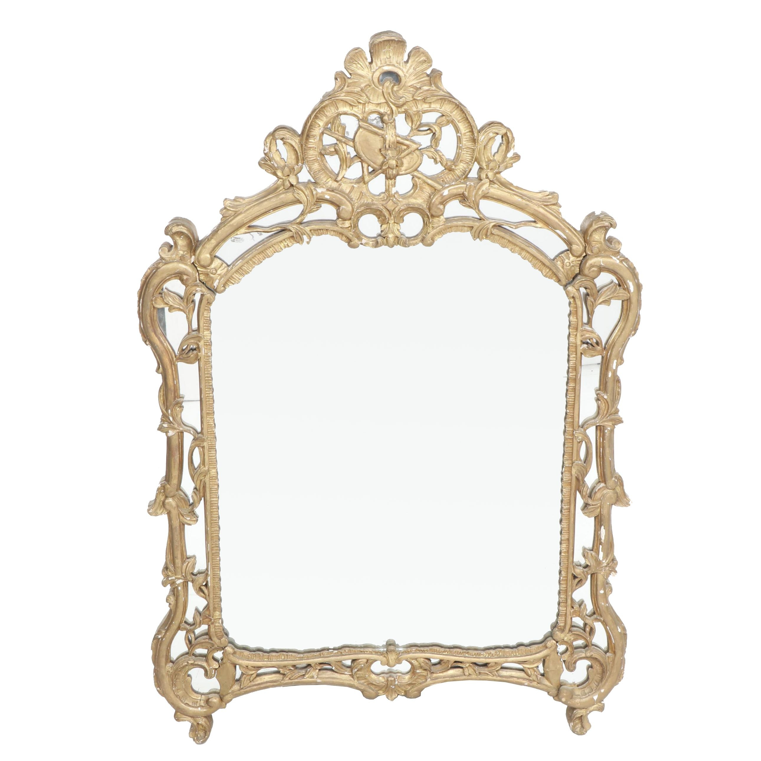 Baroque Style Gold-Tone Wall Hanging Mirror
