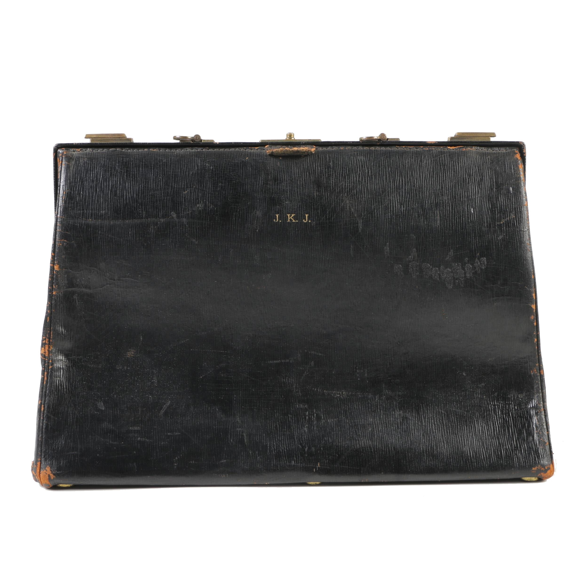 Black Leather Doctor's Bag, Early 20th Century