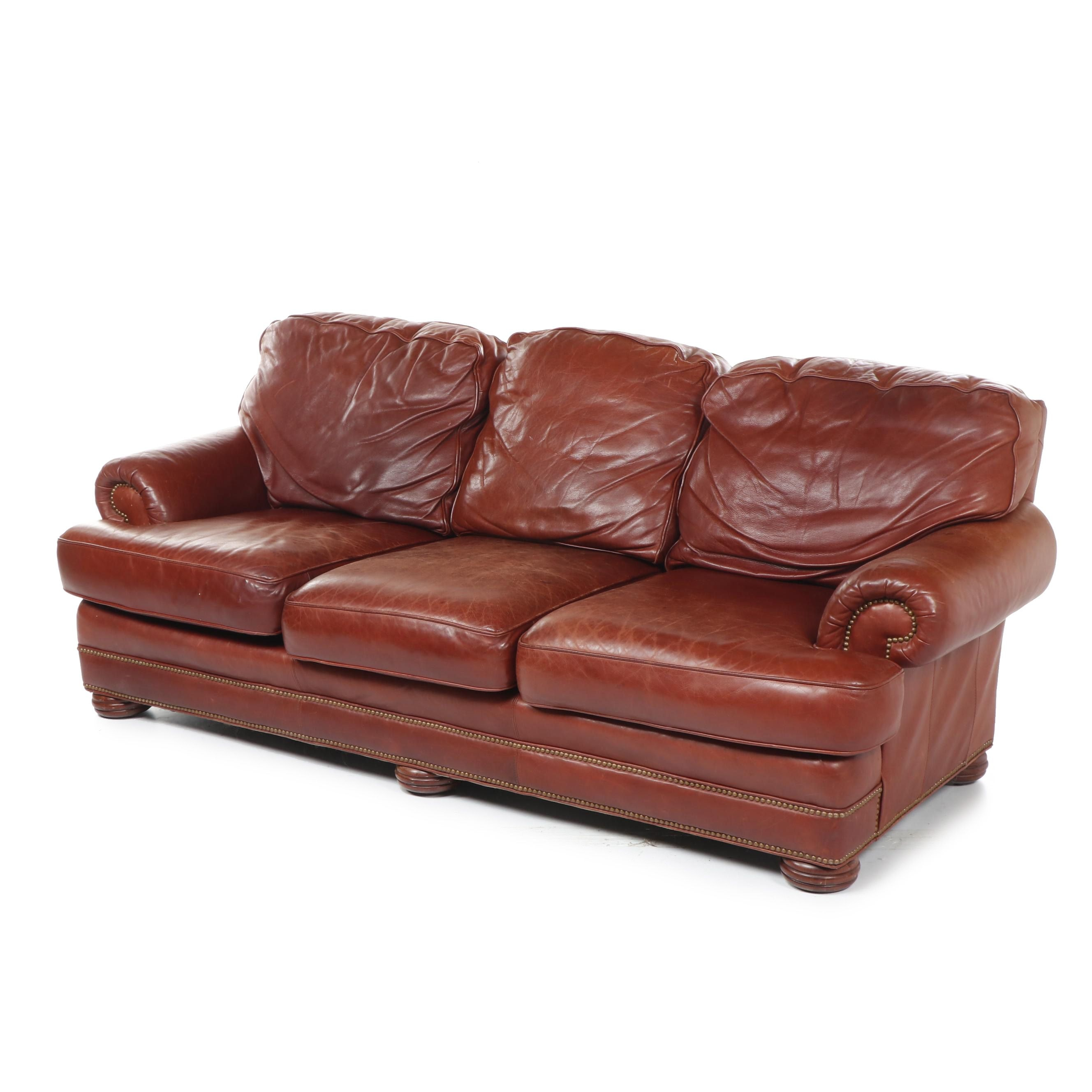 Contemporary Whittemore Sherrill Cognac Leather Sofa