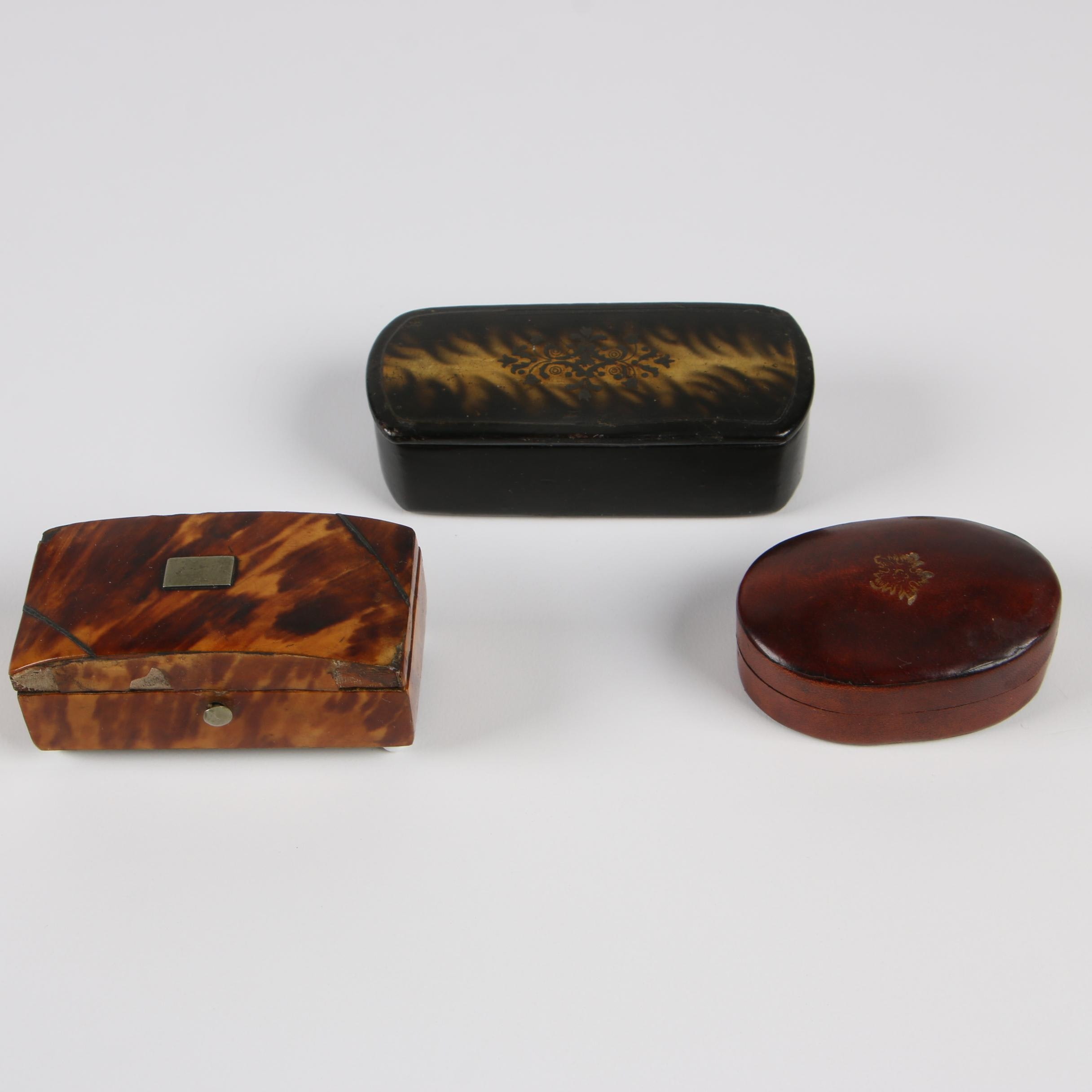 Papier-Mâché, Tortoiseshell Lacquer, and Leather Trinket Boxes, Late 19th C.