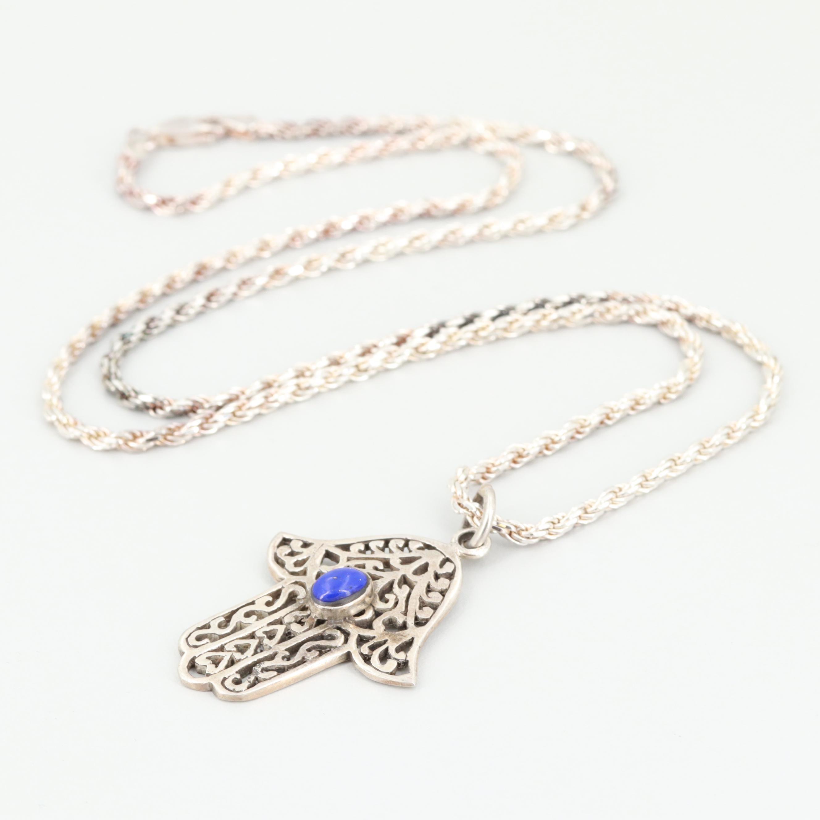 Sterling Silver Lapis Lazuli  Hamsa Pendant Necklace