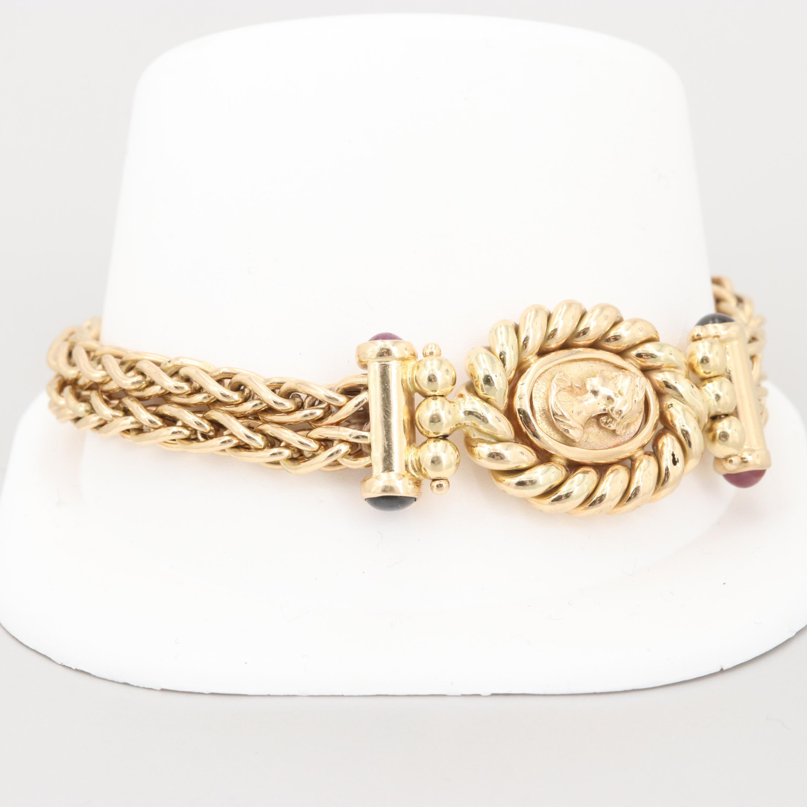 14K Yellow Gold Bracelet with Sapphire and Ruby Cabochons