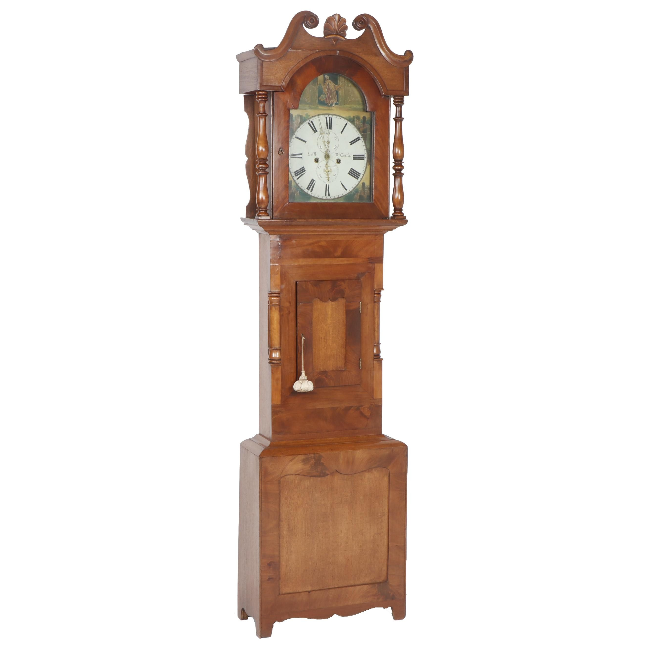 George III Mahogany Longcase Clock with Hand-Painted Face, Early 19th C.