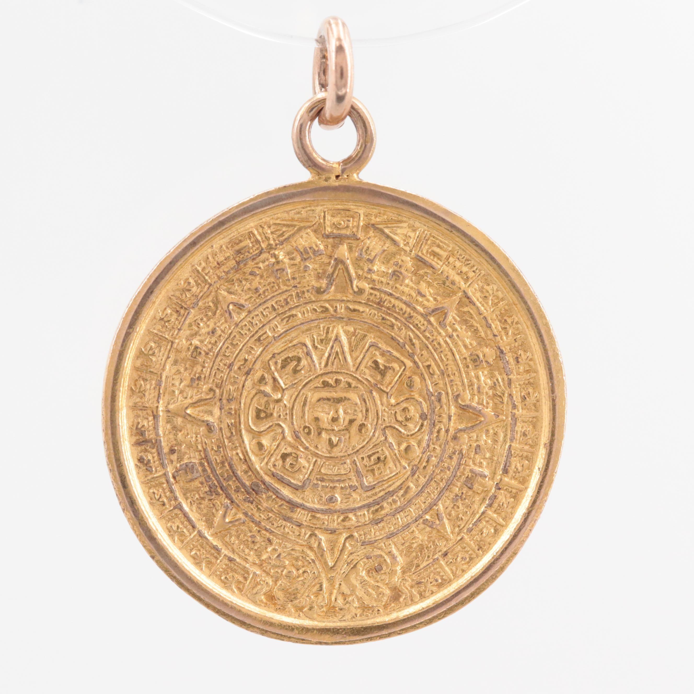 14K Yellow Gold Aztec Calendar Charm