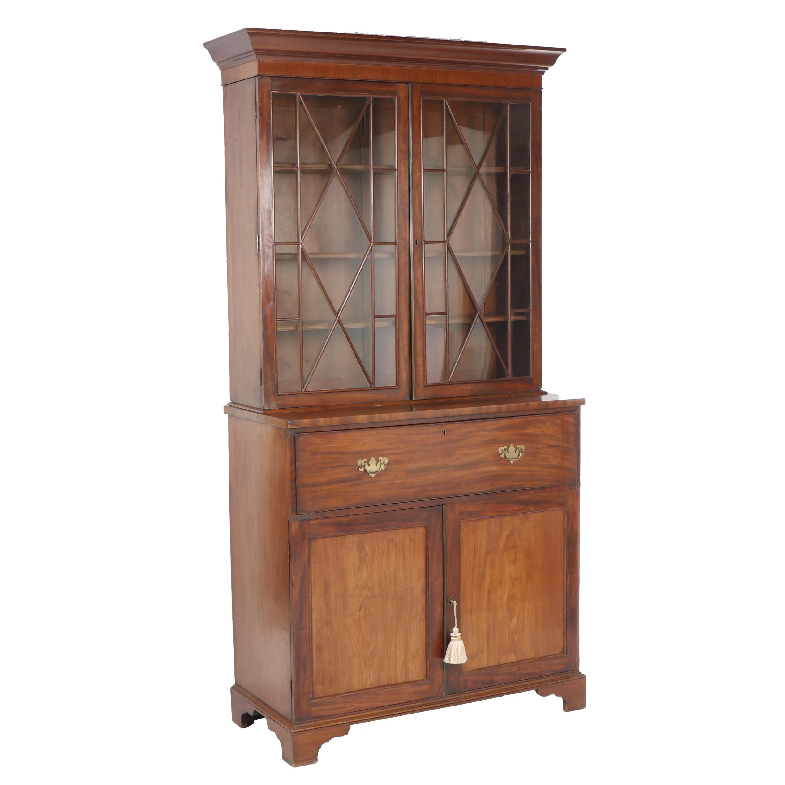 George III Style Cherry Drop Front Secretary with Bookcase, circa 1900
