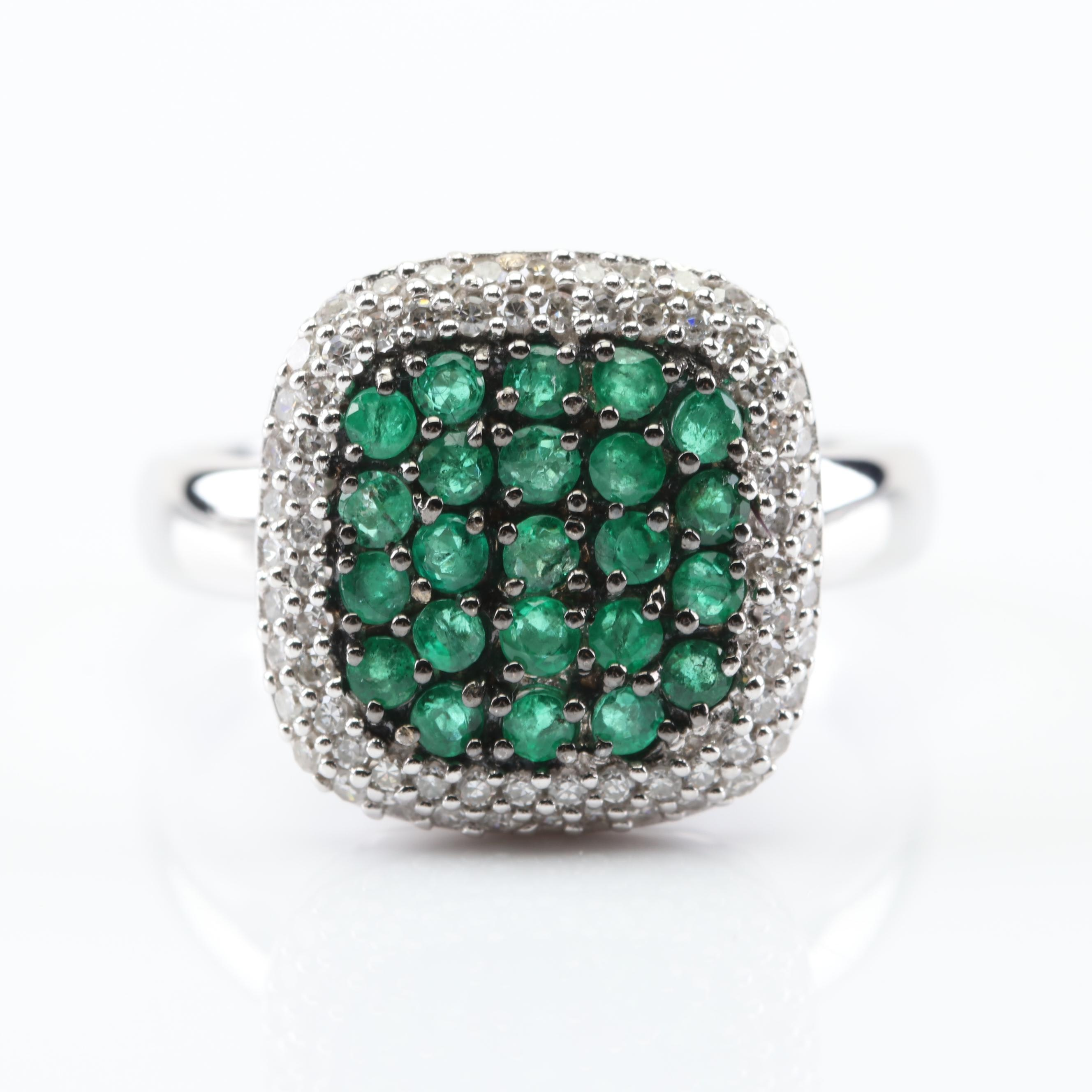 EFFY 14K White Gold Emerald and Double Diamond Ring