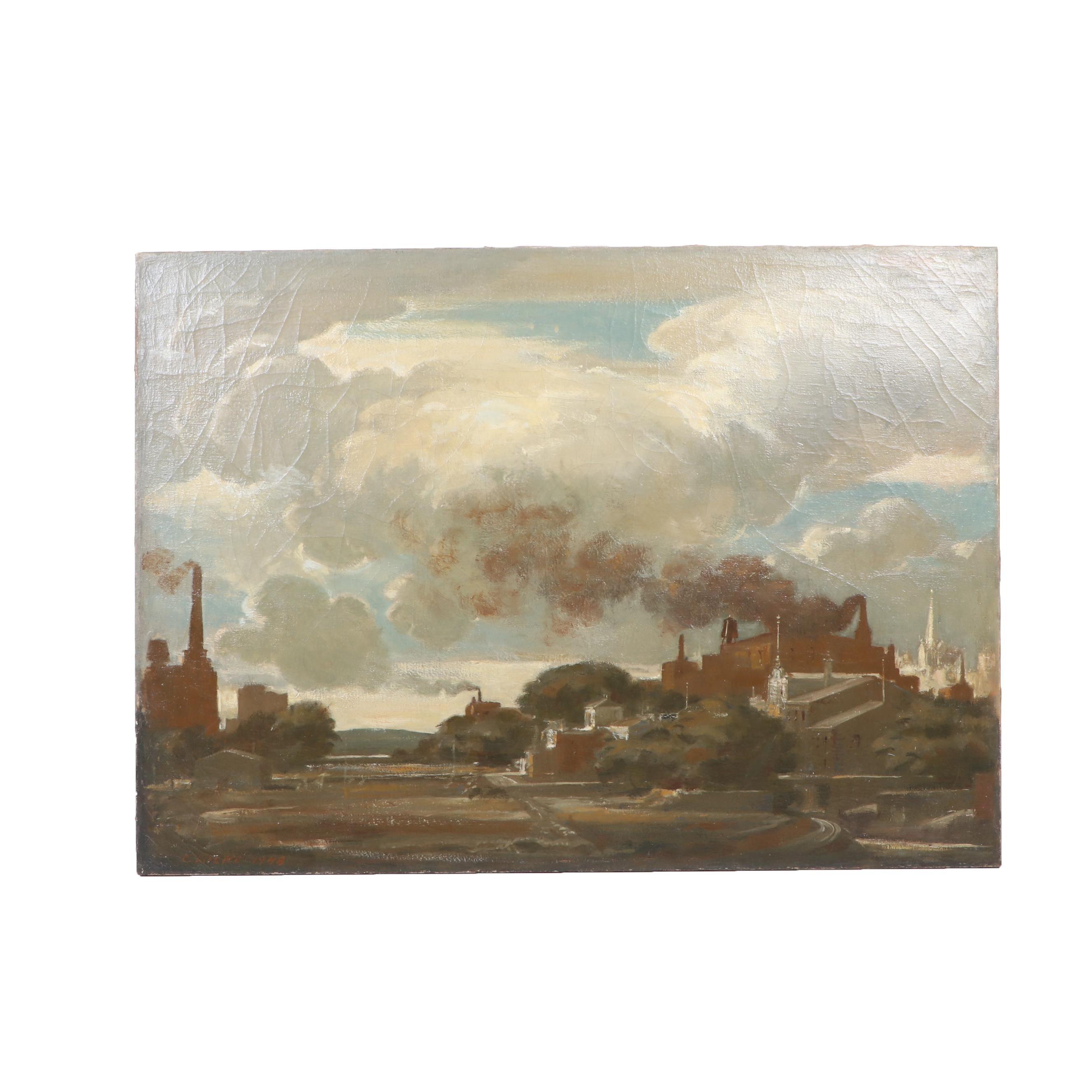"Charles Locke Oil Painting ""Edge of Iowa"", 1948"
