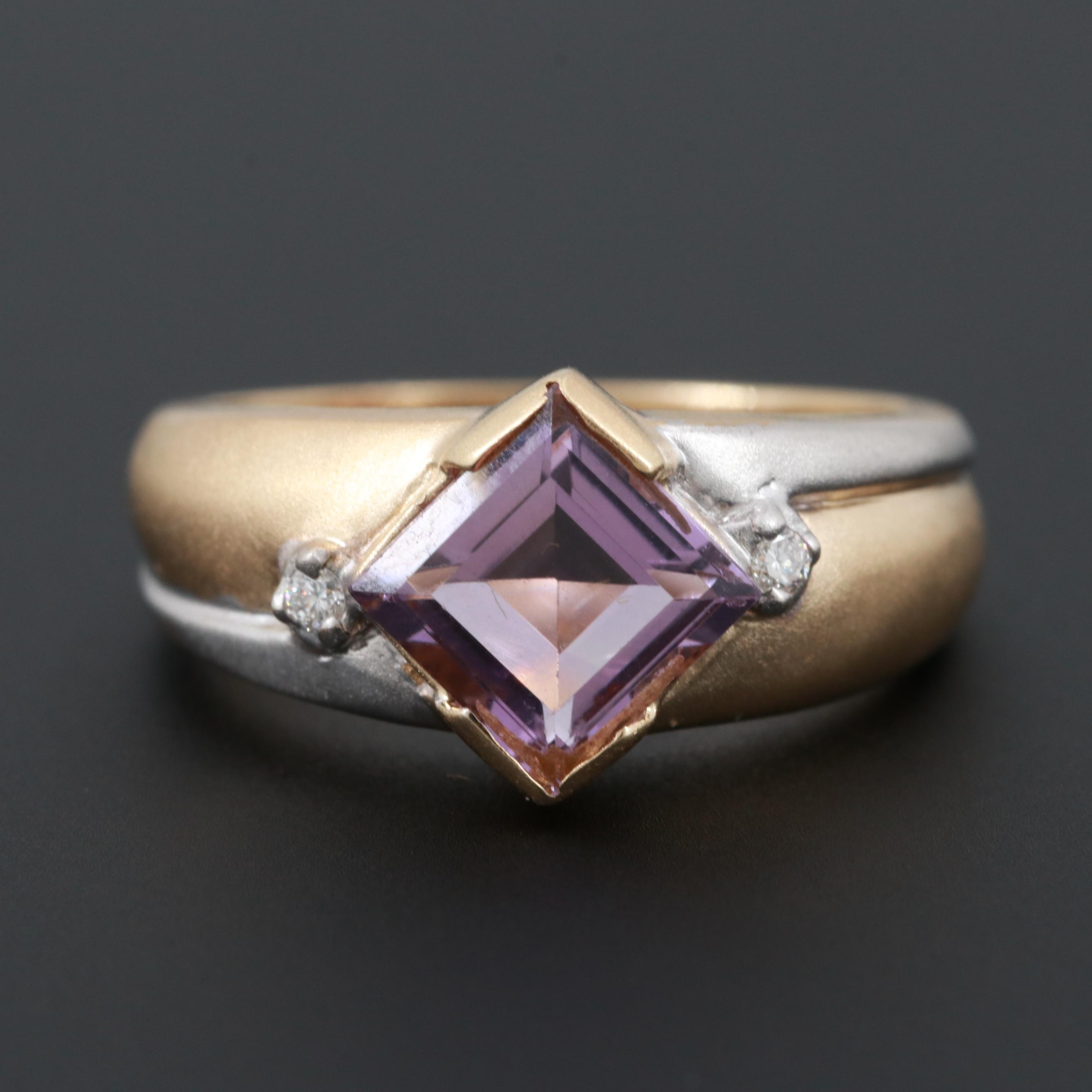 14K Yellow and White Gold Amethyst and Diamond Ring