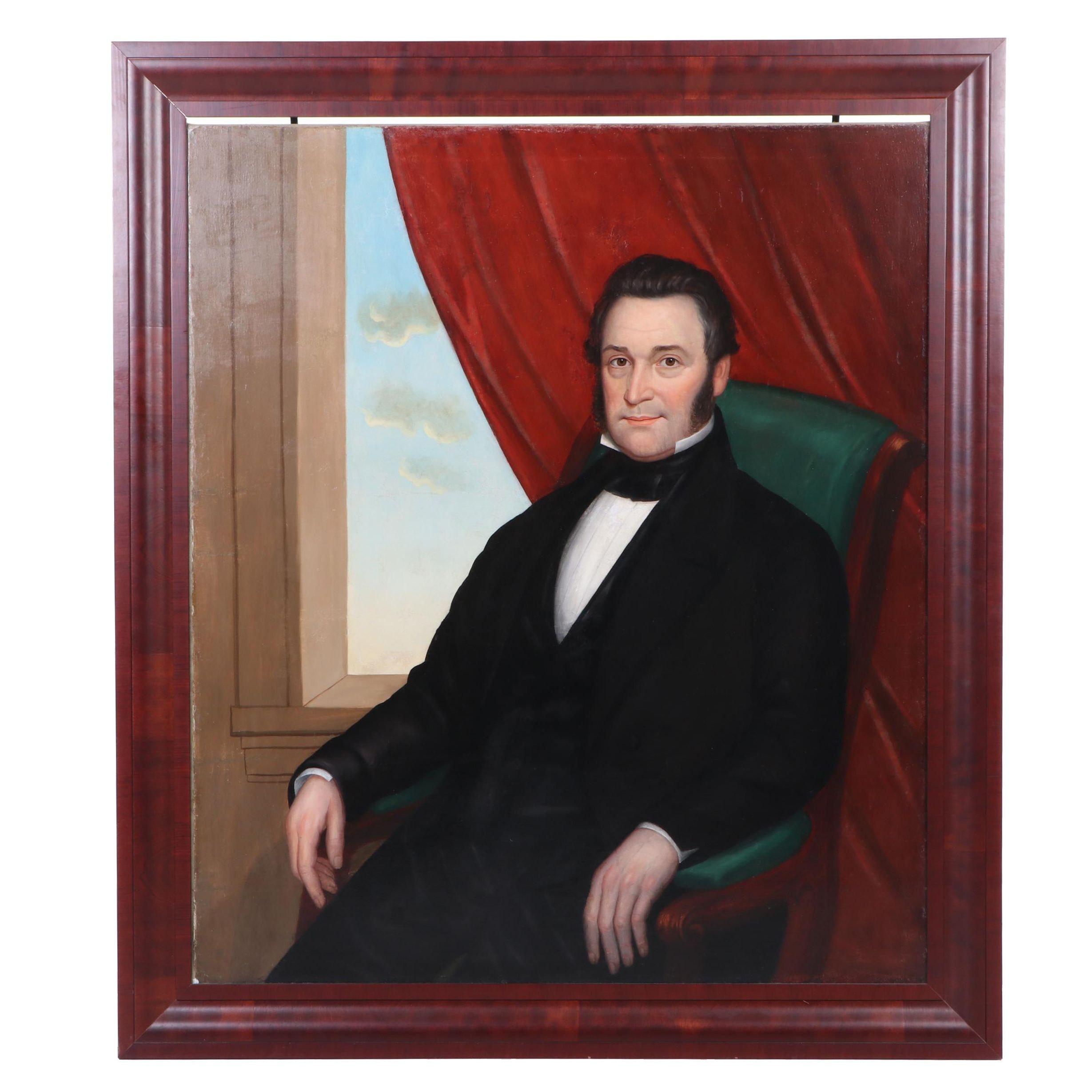 "Joseph Goodhue Chandler 1853 Folk Naive Oil Portrait ""Col. John Cushing"""