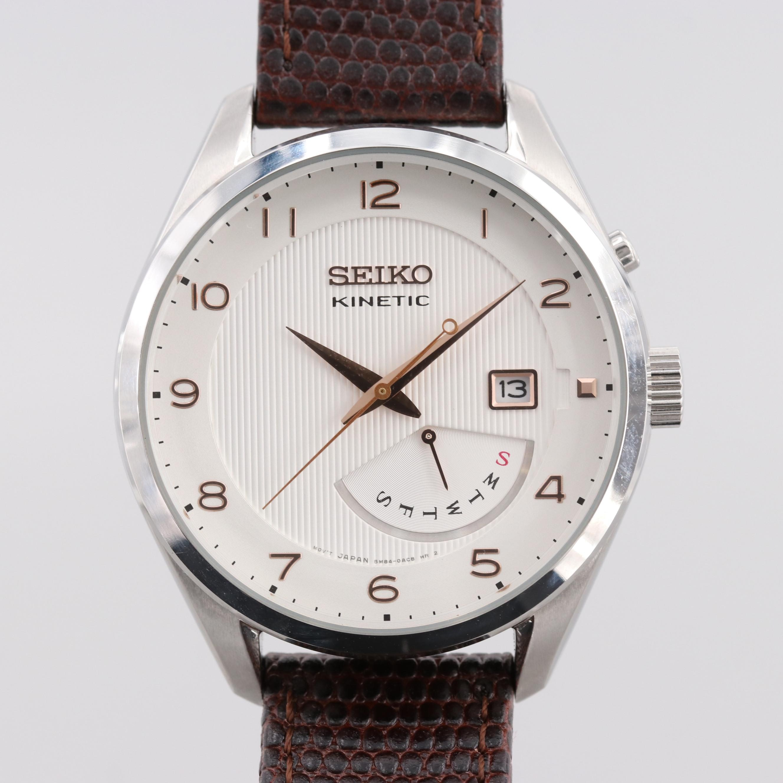 Seiko Kinetic Day-Date Wristwatch With Power Indicator