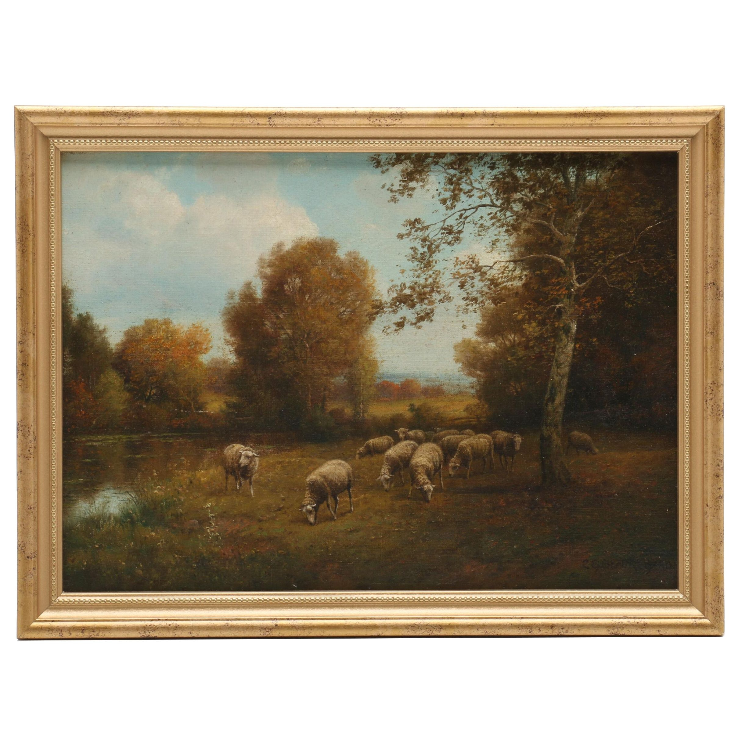 Charles Beauregard Oil Painting of Pastoral Scene with Sheep