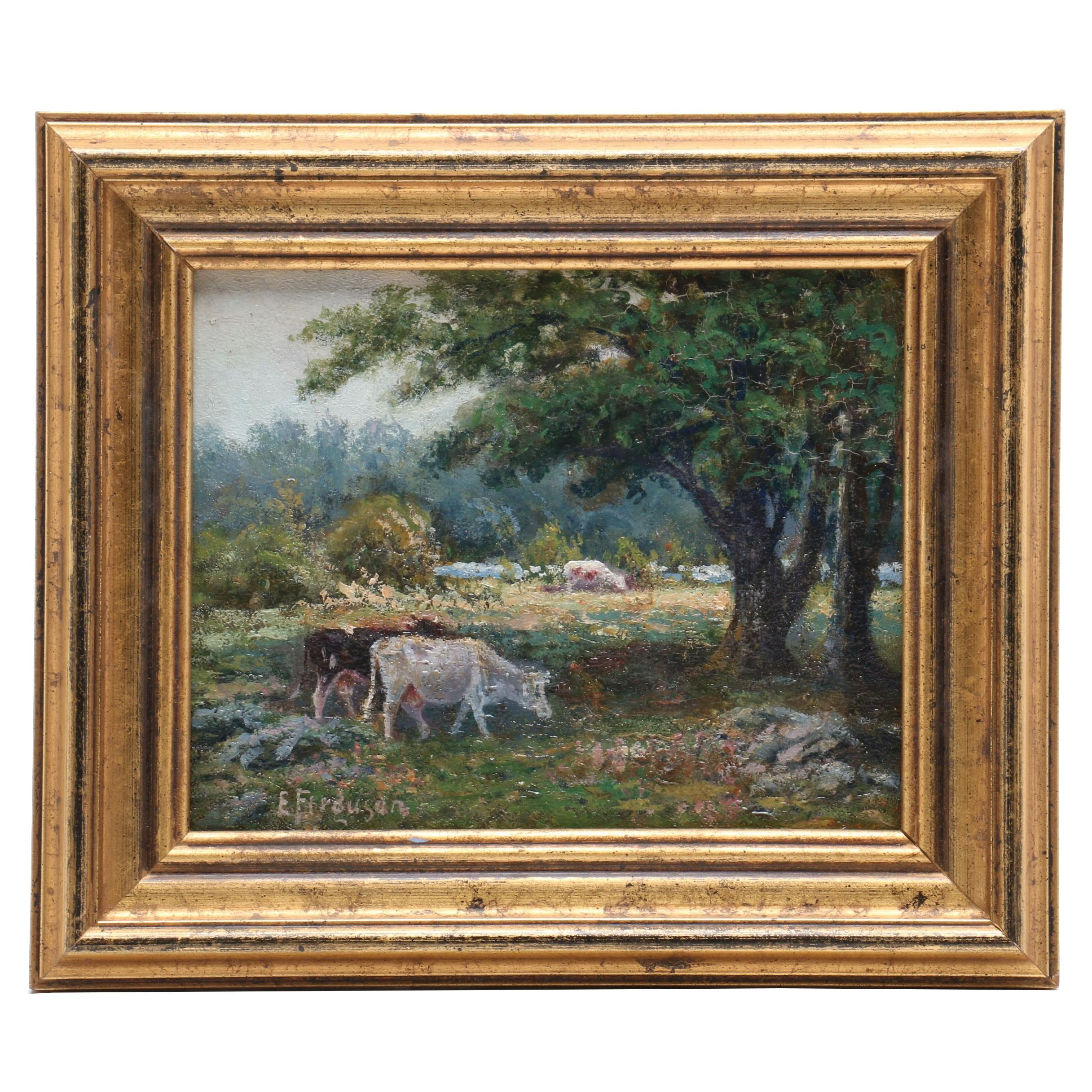 Elizabeth Ferguson Oil Painting of Landscape with Cows